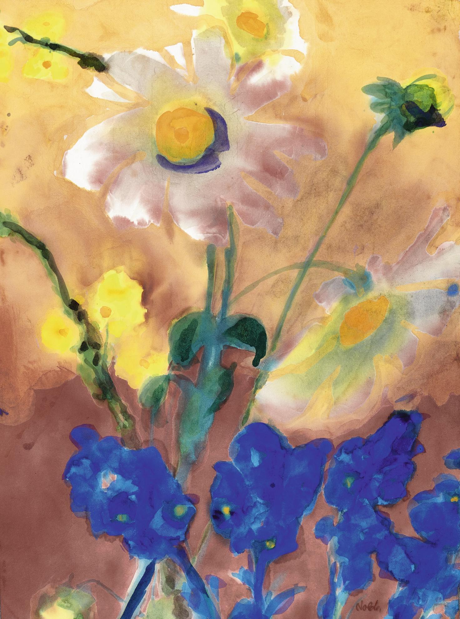 Emil Nolde-Blumen (Weiβ, Gelb, Blau) (Flowers (White, Yellow, Blue))-1940