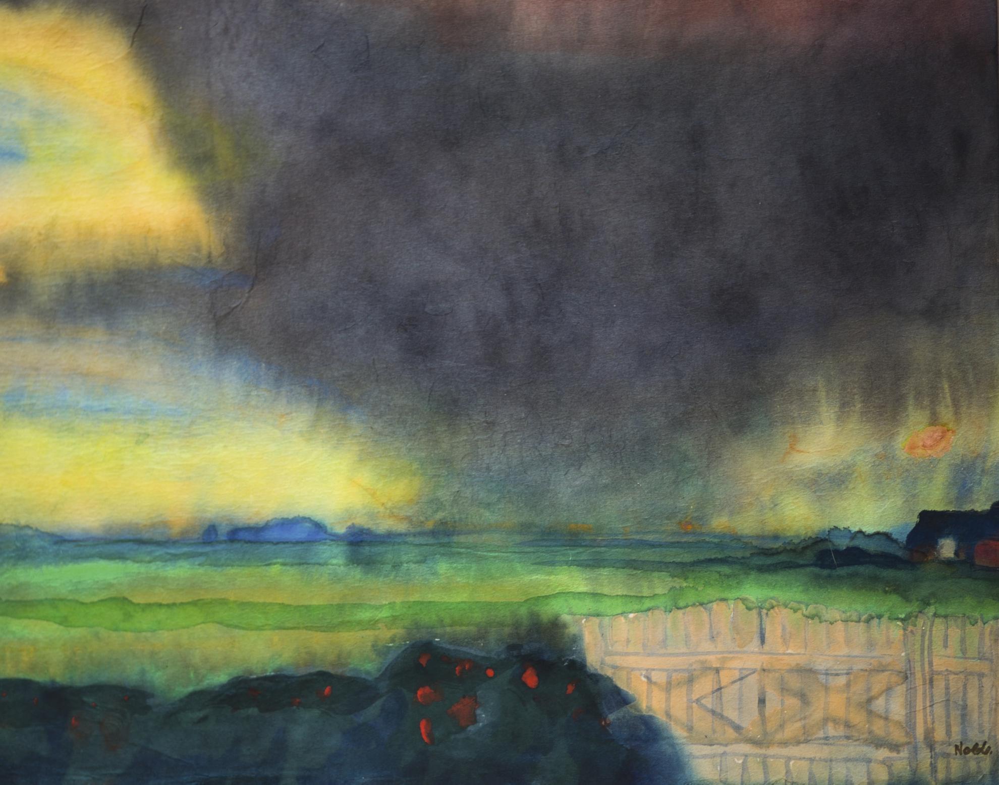 Emil Nolde-Marschlandschaft Mit Seebullhof Und Rosenhecke (Marshland With Seebull Grounds And Rose Hedge)-1940