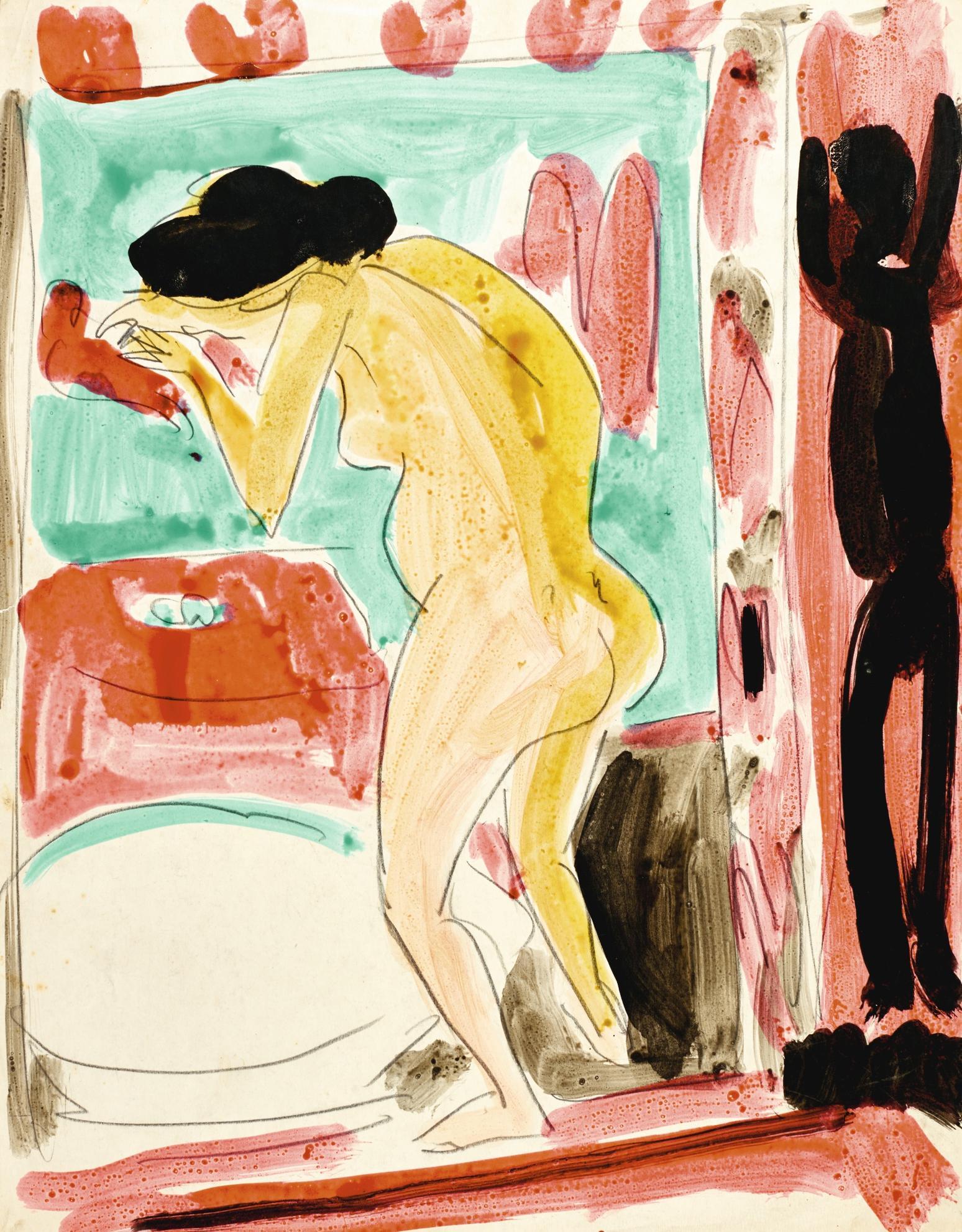 Ernst Ludwig Kirchner-Gelber Akt Vor Einem Badetub (Yellow Nude By The Bath Tub) - Recto Zwei Weibliche Akte (Two Female Nudes) - Verso-1910