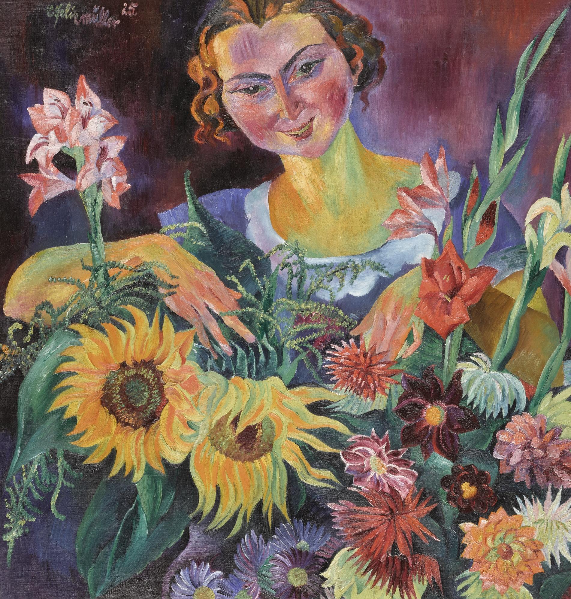 Conrad Felixmuller-Das Blumenmadchen (The Flowergirl) - Recto Huldigung Ans Modell (Honouring The Model) - Verso-1934