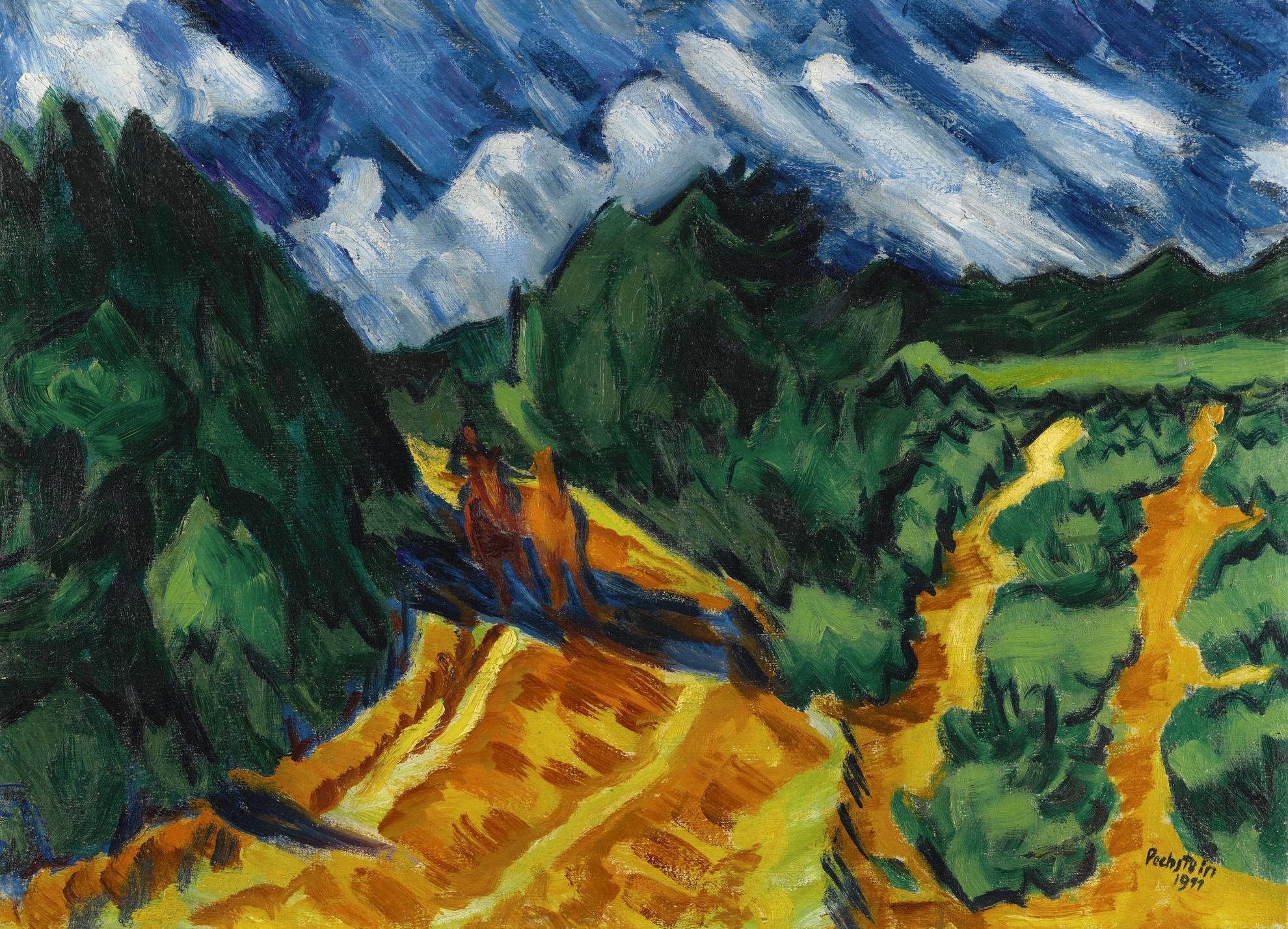 Max Pechstein-Landschaft Mit Pferd Und Reiter (Landscape With Horse And Rider)-1911