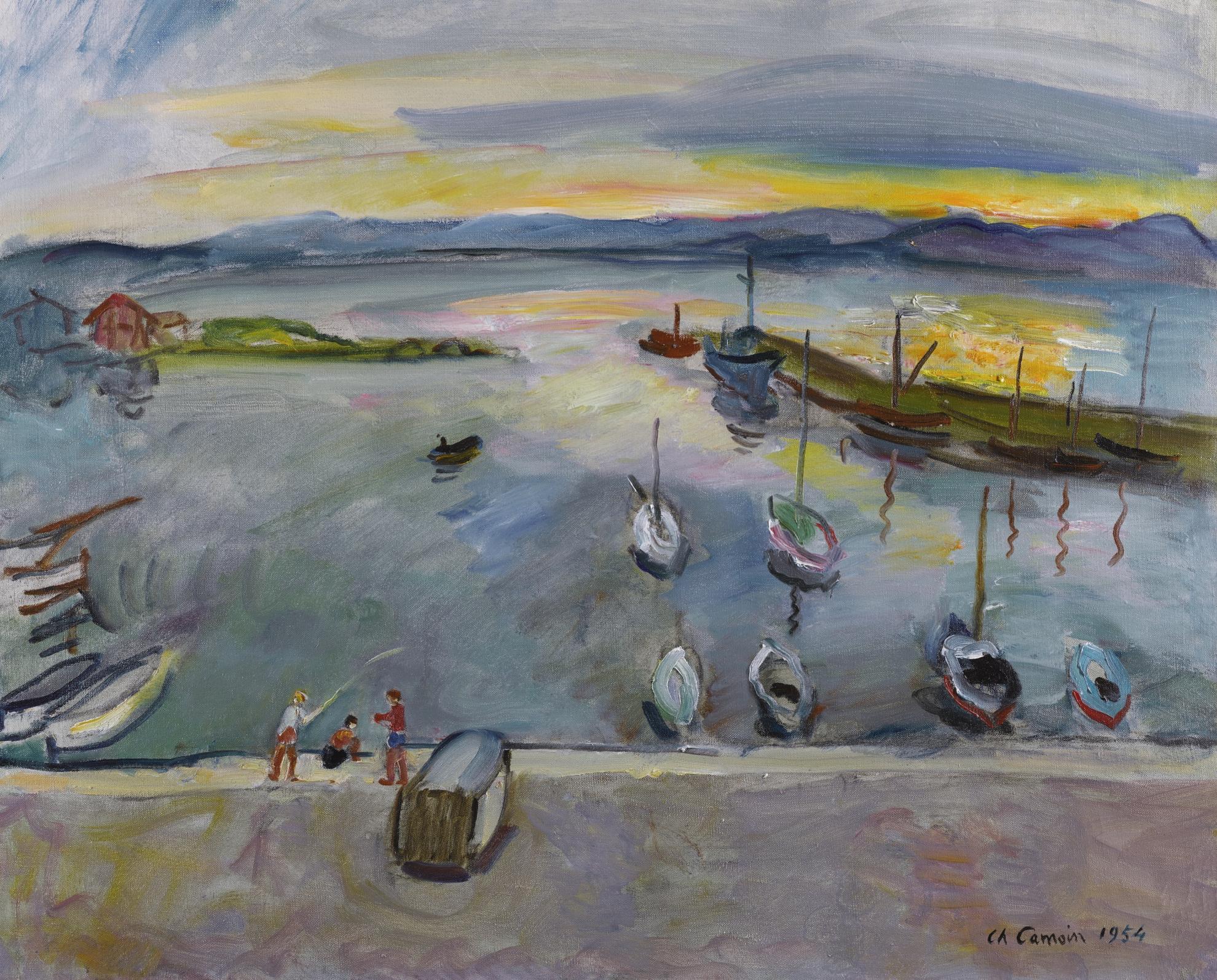 Charles Camoin-Le Port De Saint-Tropez Au Soleil Couchant-1954