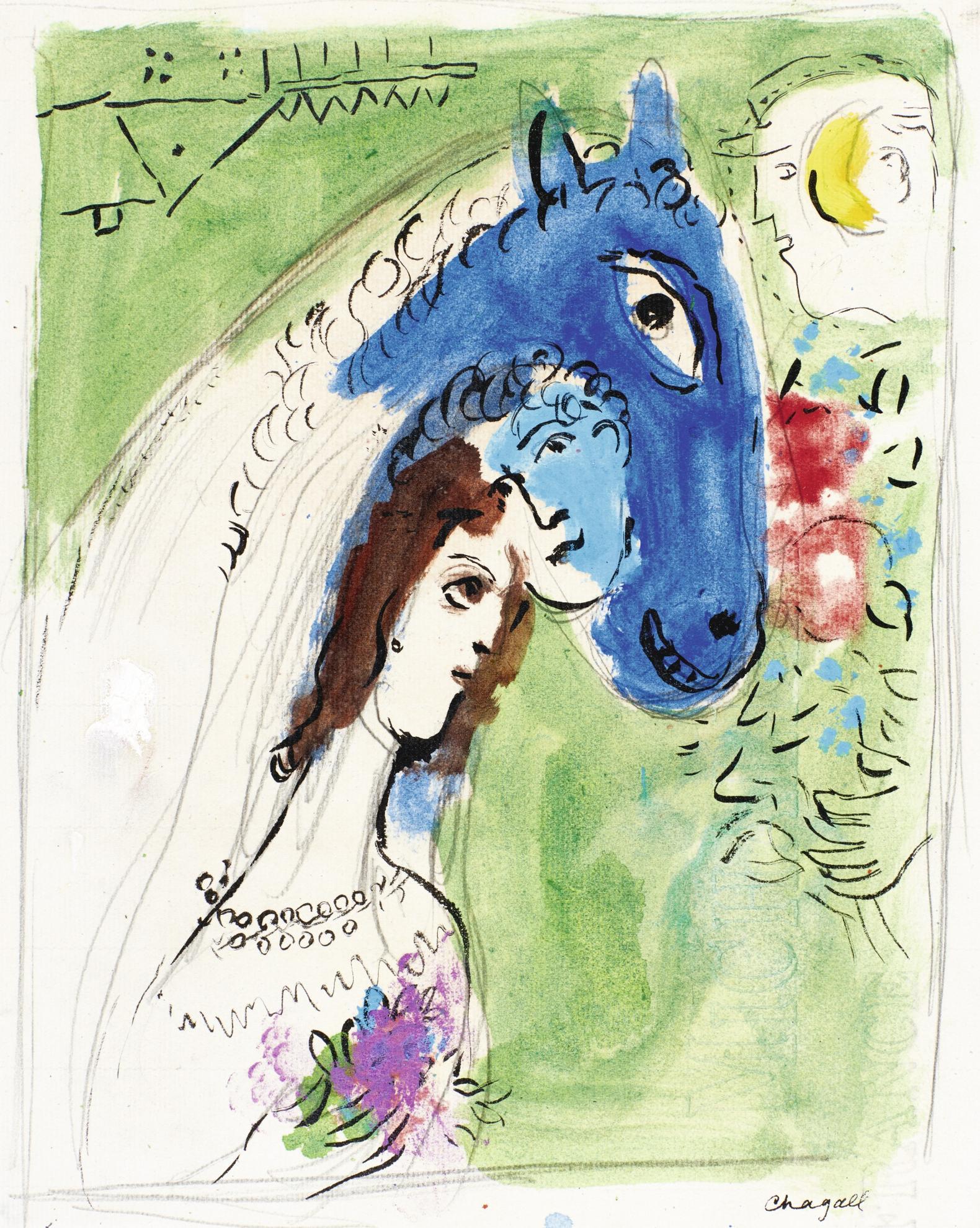 Marc Chagall-Esquisse Pour La Fiancee Revant-1952