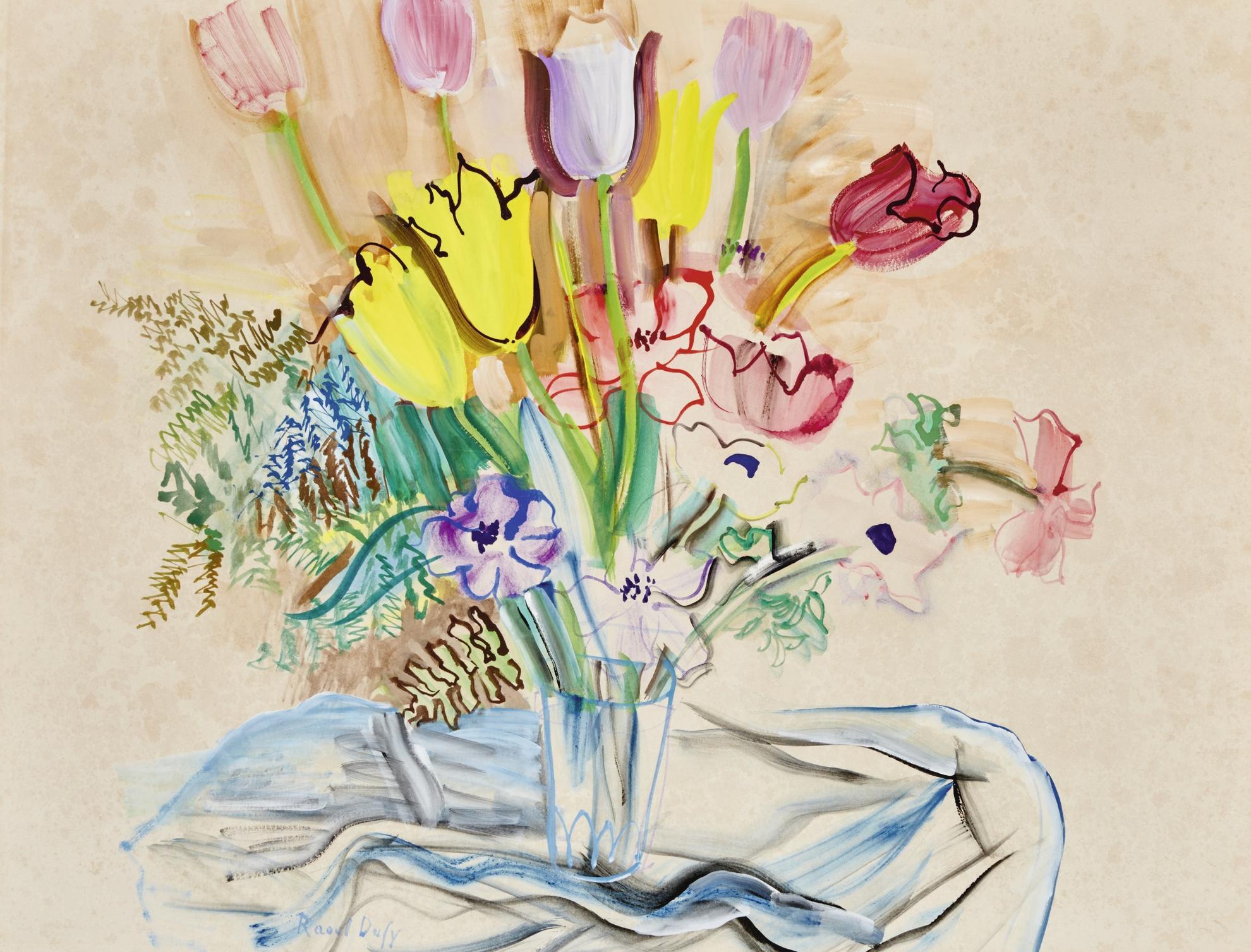 Raoul Dufy-Bouquet De Tulipes Et Anemones-1942