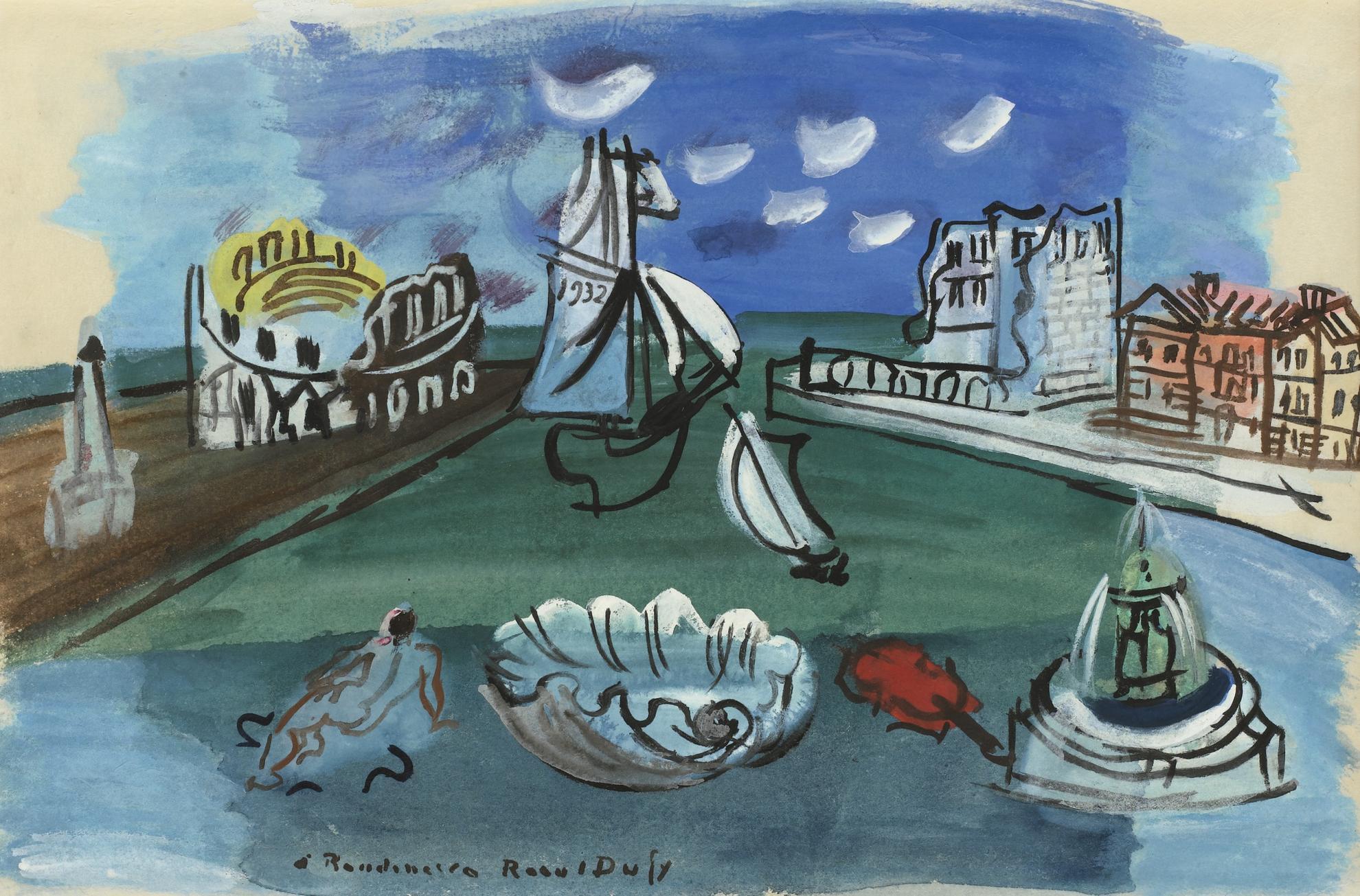 Raoul Dufy-Composition, Port, Violon, Fontaine-1932