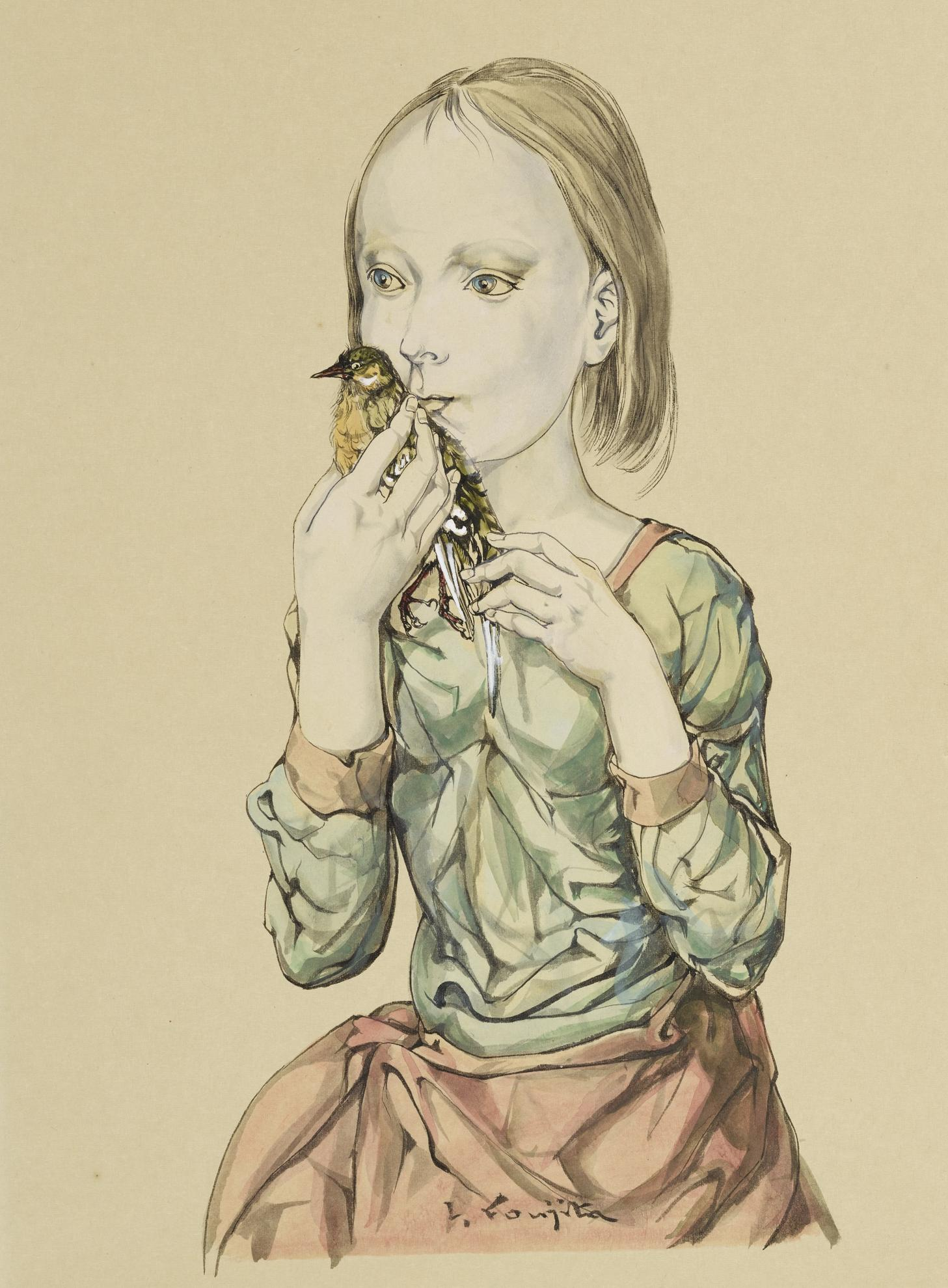 Tsuguharu Foujita-Jeune Fille A L'Oiseau-1964