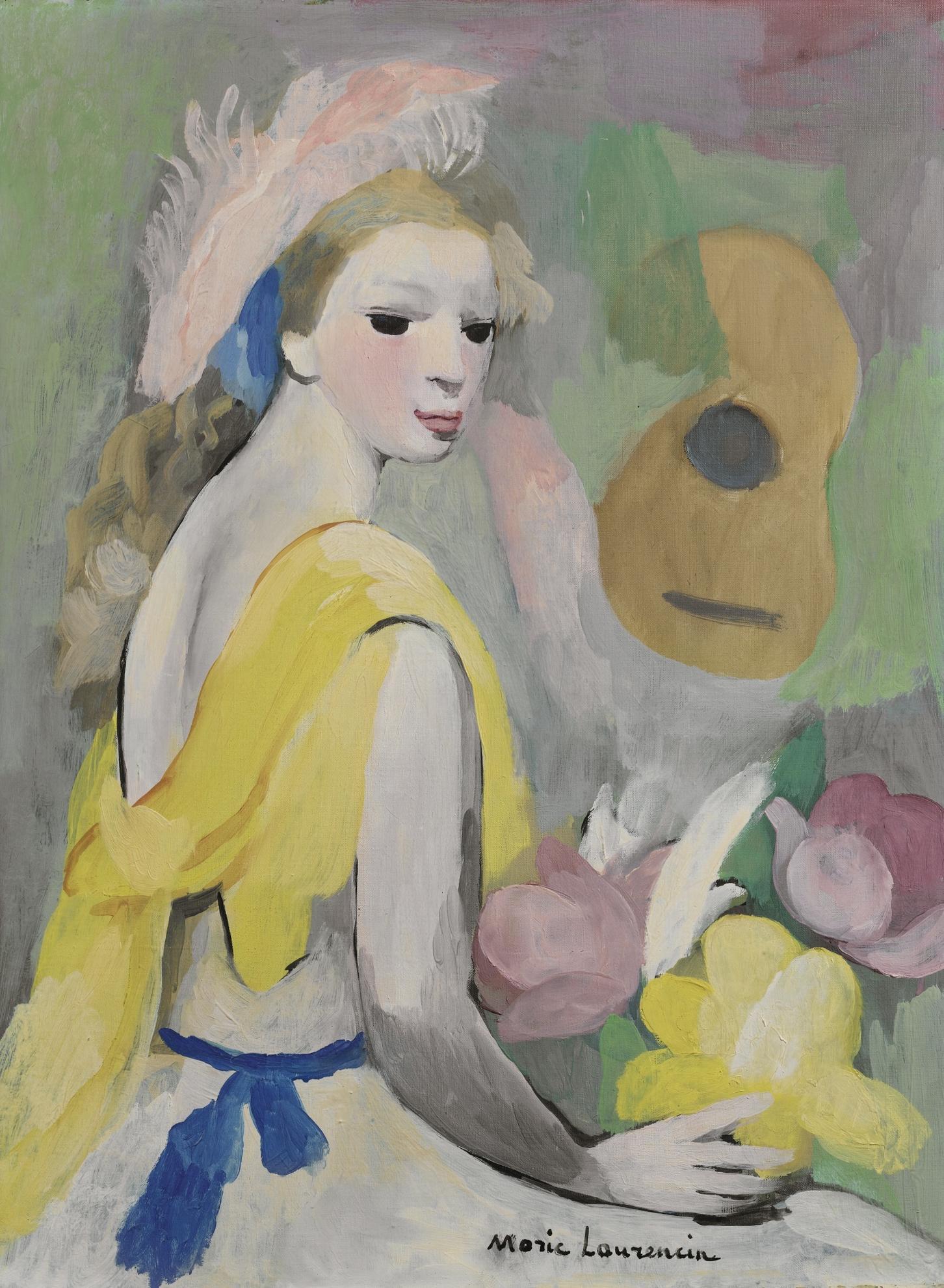 Marie Laurencin-Femme A La Guitare Et Aux Fleurs-