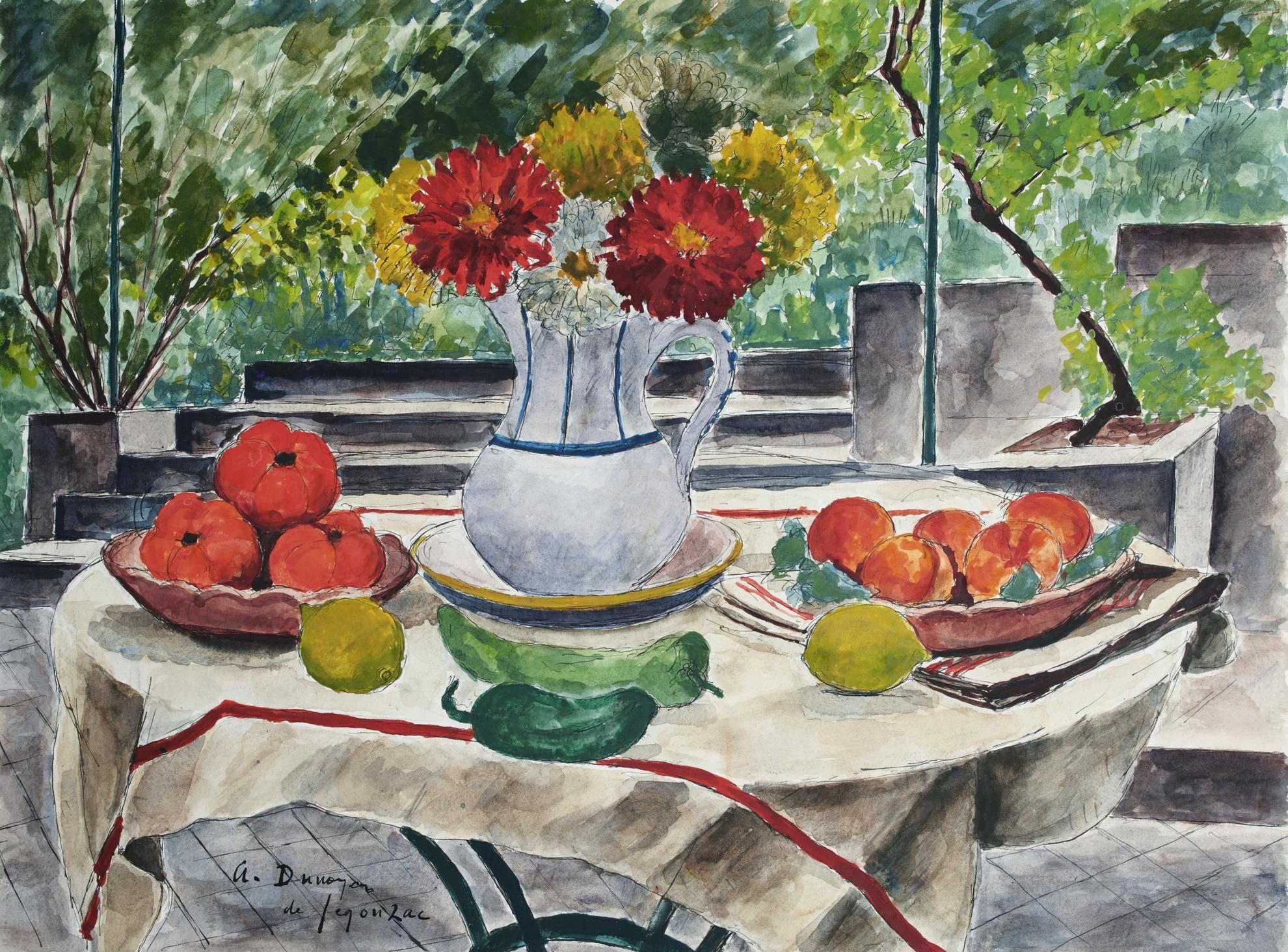 Andre Dunoyer de Segonzac-Fleurs Et Tomates-