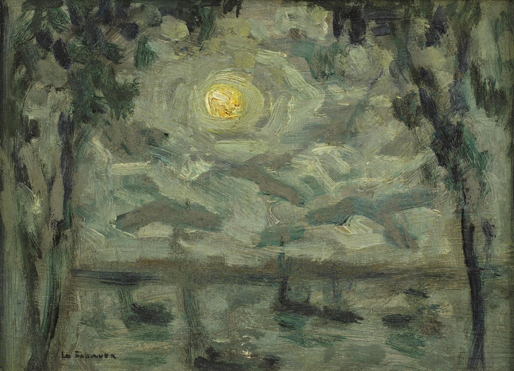 Henri Eugene Le Sidaner-Clair De Lune, Villefranche-Sur-Mer-1939