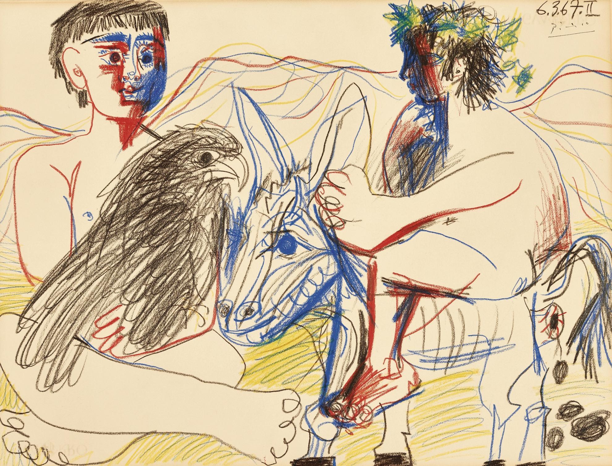 Pablo Picasso-Adolescents, Aigle Et Ane-1967