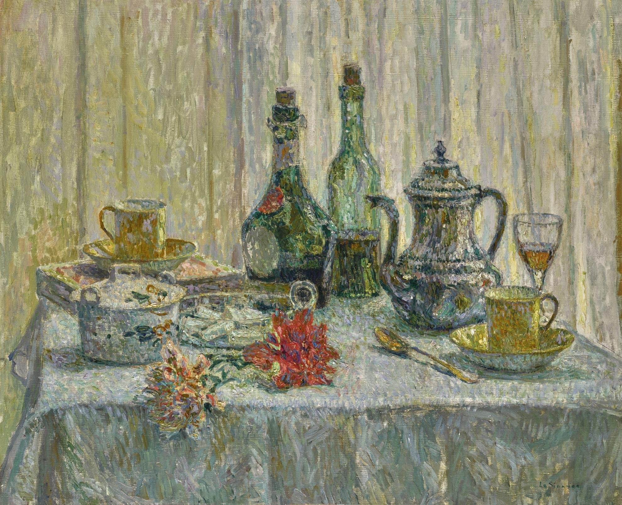 Henri Eugene Le Sidaner-La Table Devant La Fenetre-1921