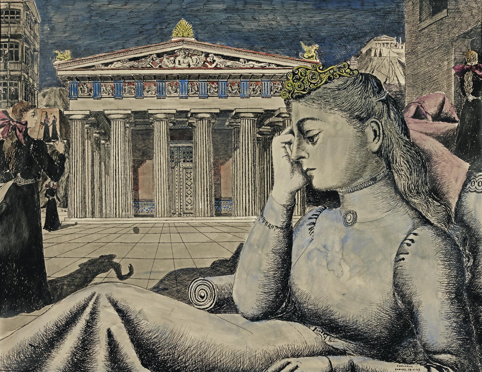 Paul Delvaux-Etude Pour Jeune Fille Devant Un Temple-1949