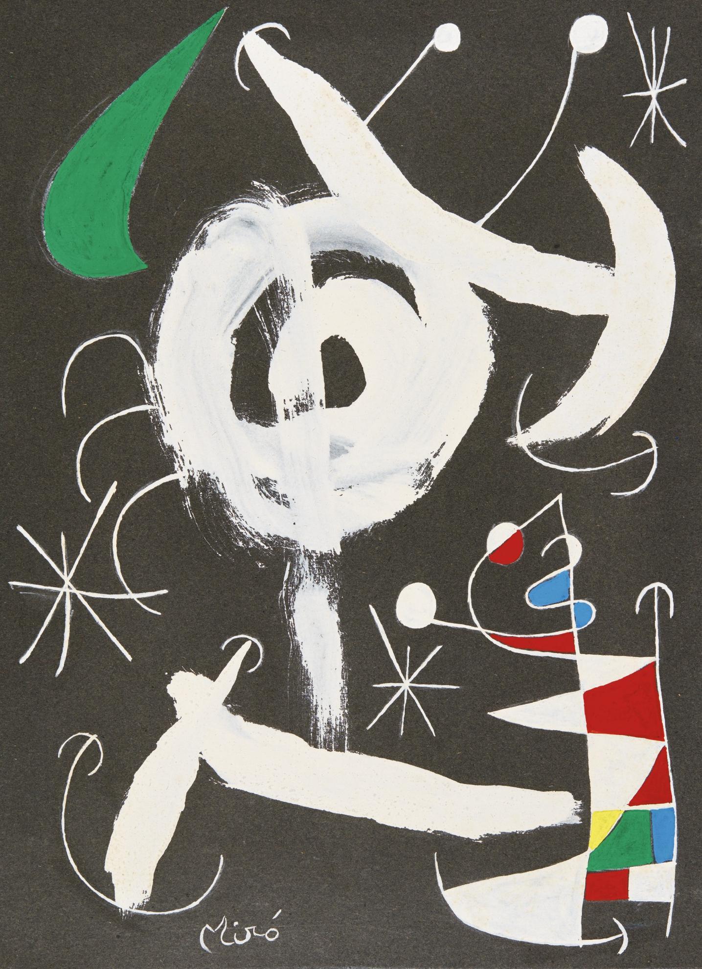 Joan Miro-Couple Damoureux Dans La Nuit-1967