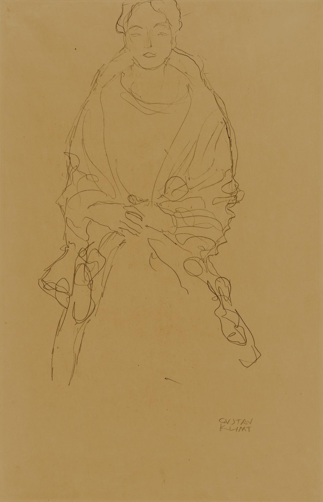 Gustav Klimt-Sitzende Von Vorne, Die Hande Ineinander Gelegt (Studie Zum Bildnis Fraulein Lieser) (Seated Woman With Cupped Hands Seen From The Front (Study For The Portrait Of Miss Lieser))-1918