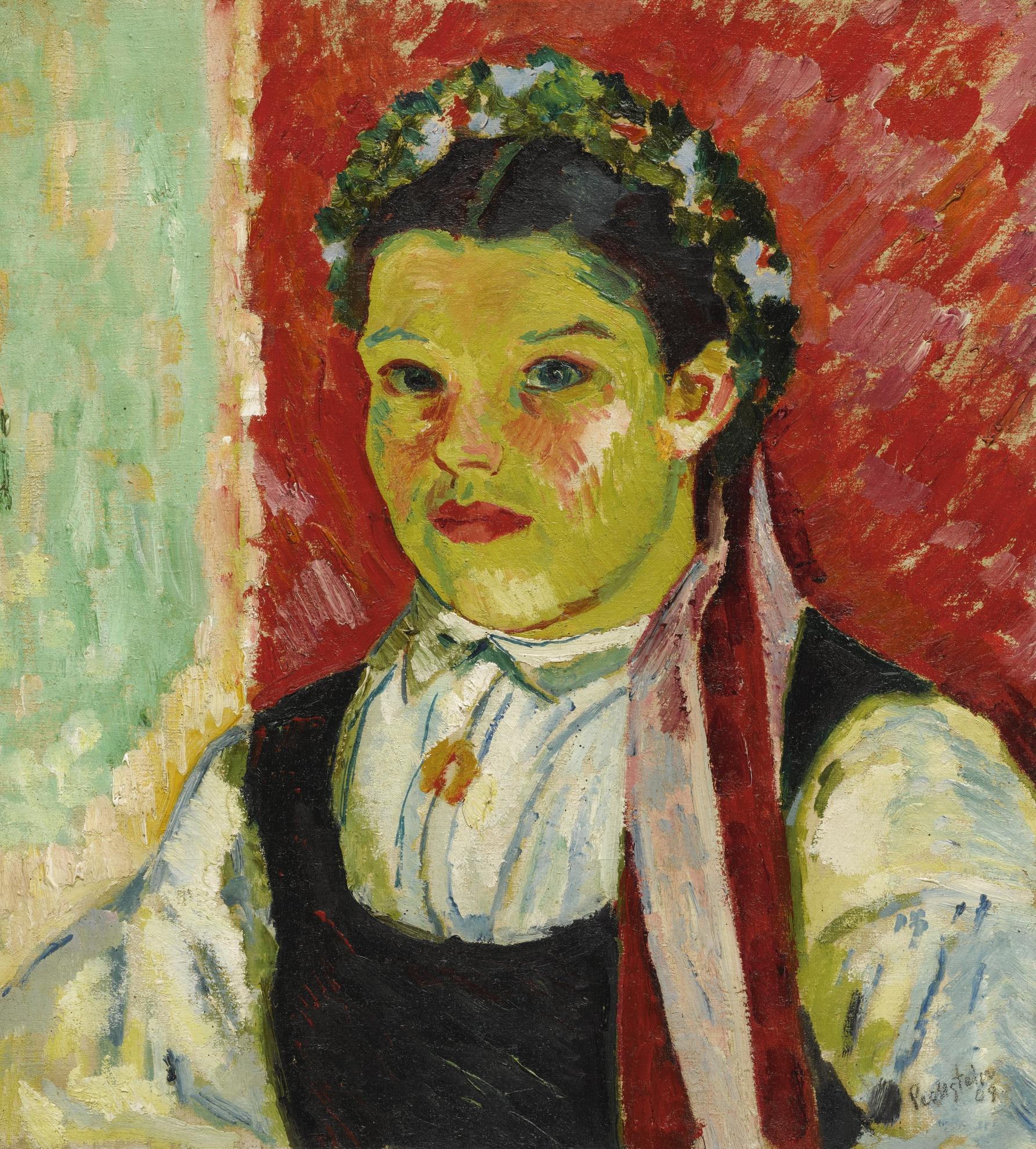 Max Pechstein-Kurische Braut I (Coronian Bride I)-1909