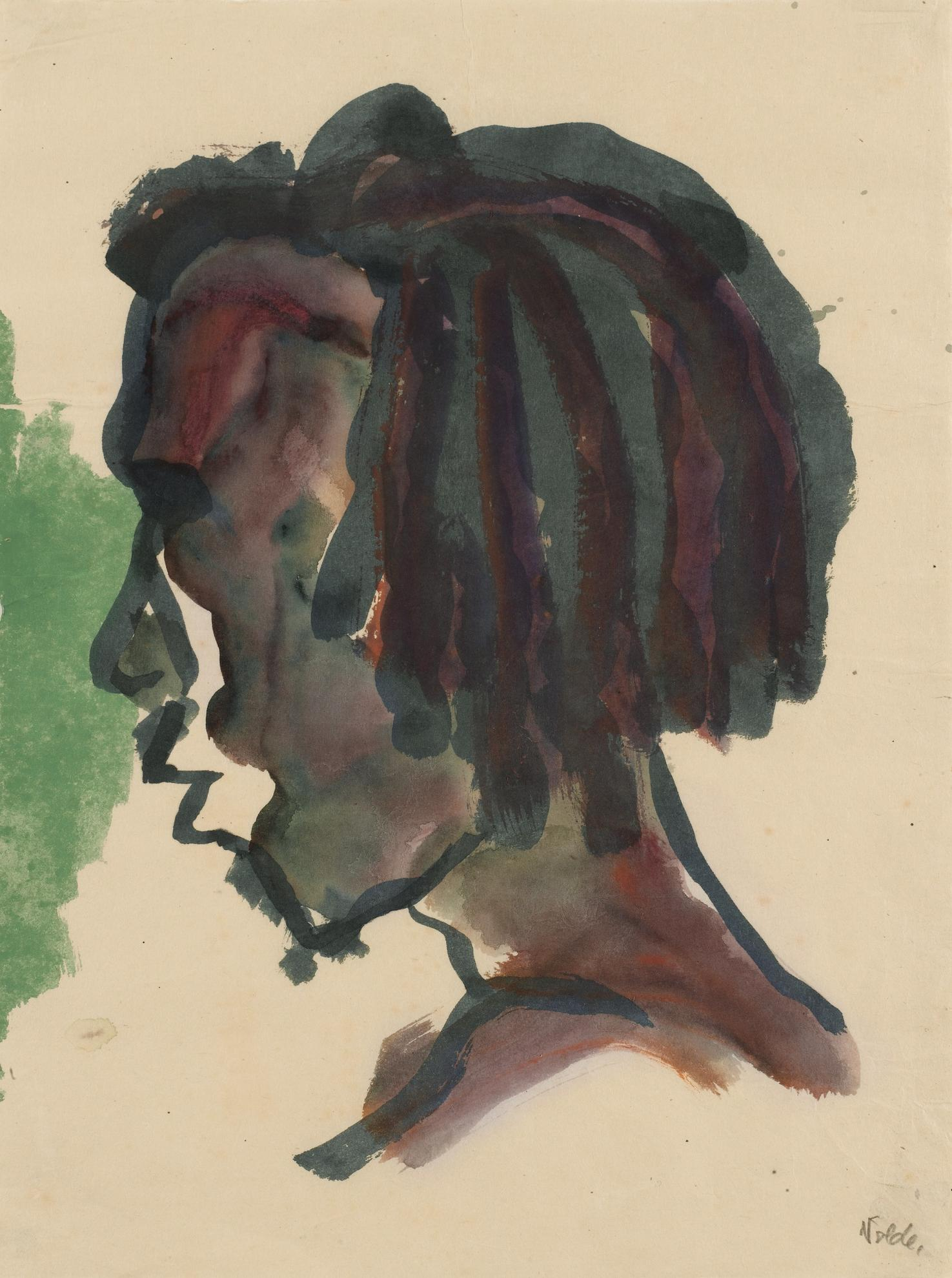 Emil Nolde-Kopf Eines Jungen Sudsee-Insulaners (Kopf Im Profil Nach Links) (Head Of A Young South Sea Islander (Head In Profile Turned To The Left))-1914