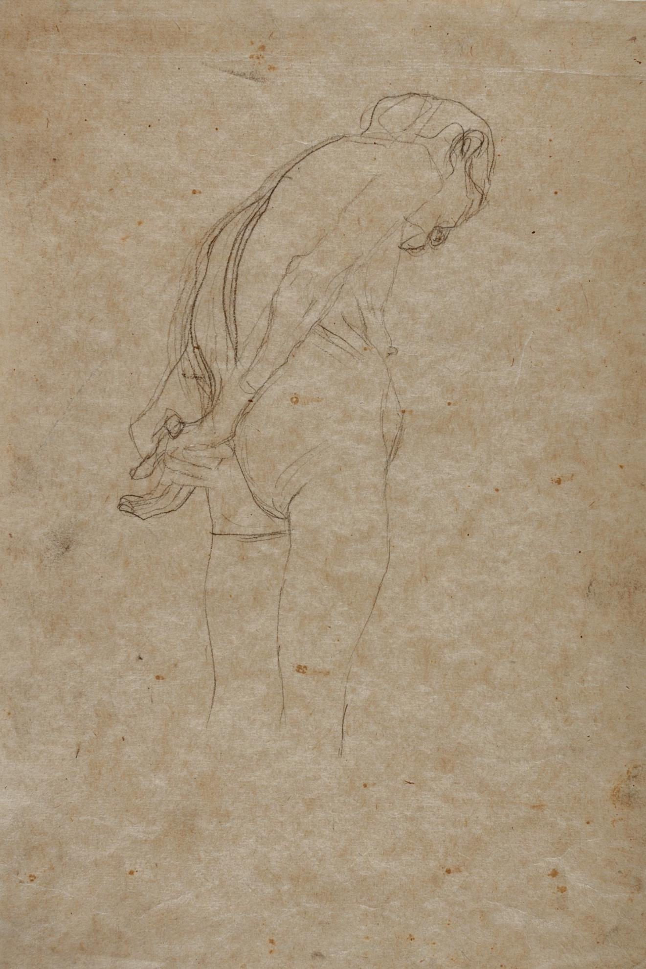 Gustav Klimt-Gebeugter Akt Einer Alten Frau Nach Rechts (Hunched Nude Elder Woman Turned To The Right)-1907