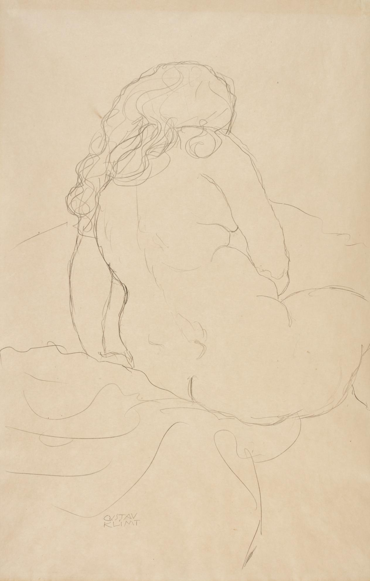 Gustav Klimt-Sitzender Ruckenakt Nach Rechts (Seated Nude Seen From Behind And Turned To The Right)-1913