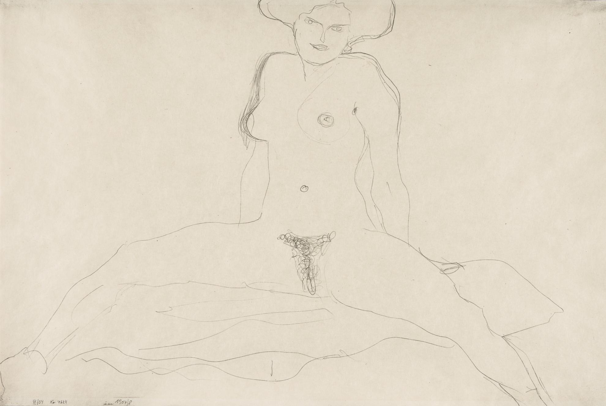 Gustav Klimt-Mit Gespreizten Beinen Sitzender Akt (Seated Nude With Her Legs Apart)-1908