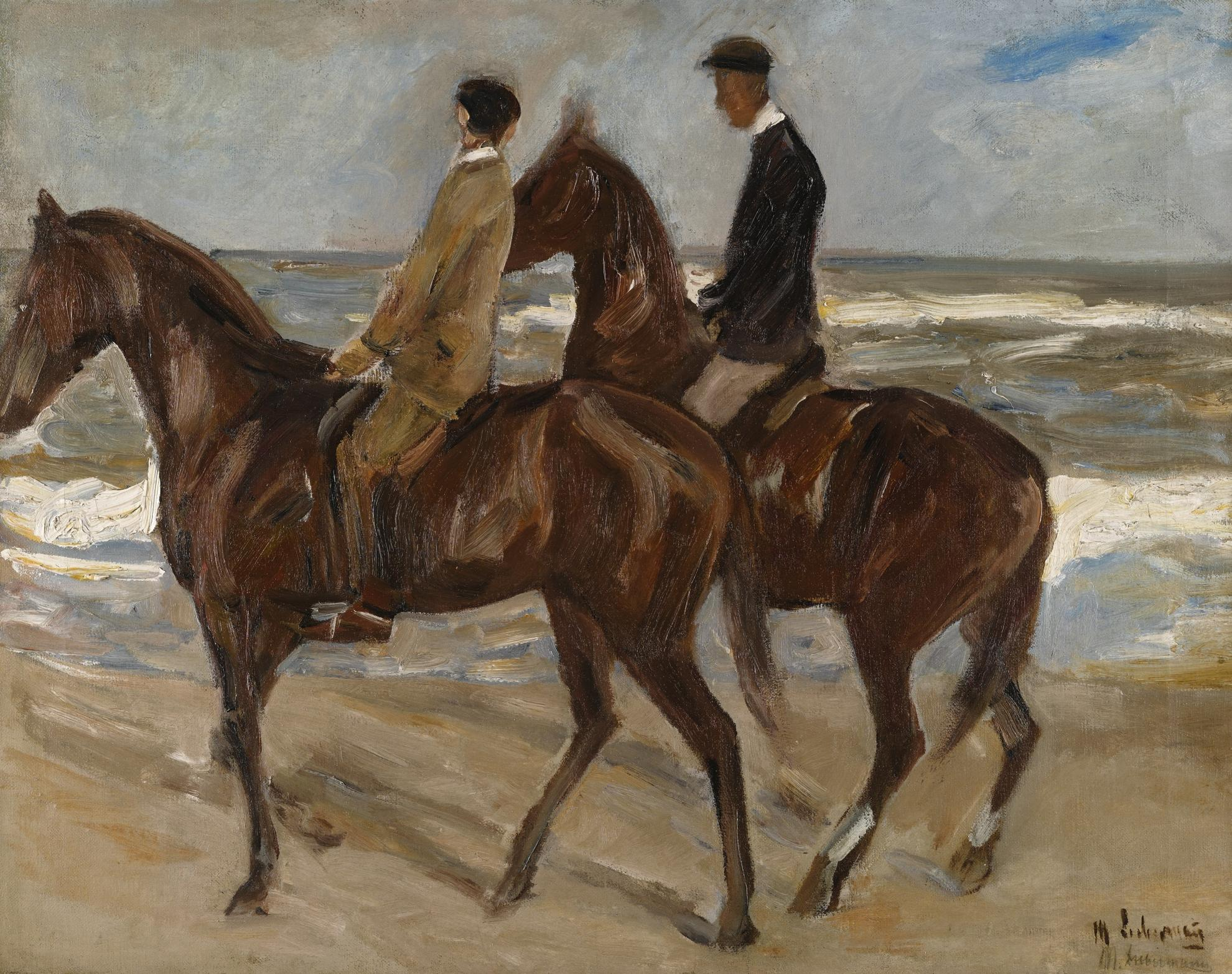 Max Liebermann-Zwei Reiter Am Strand Nach Links - Studie (Two Riders On The Beach Turned To The Left - Study)-1901