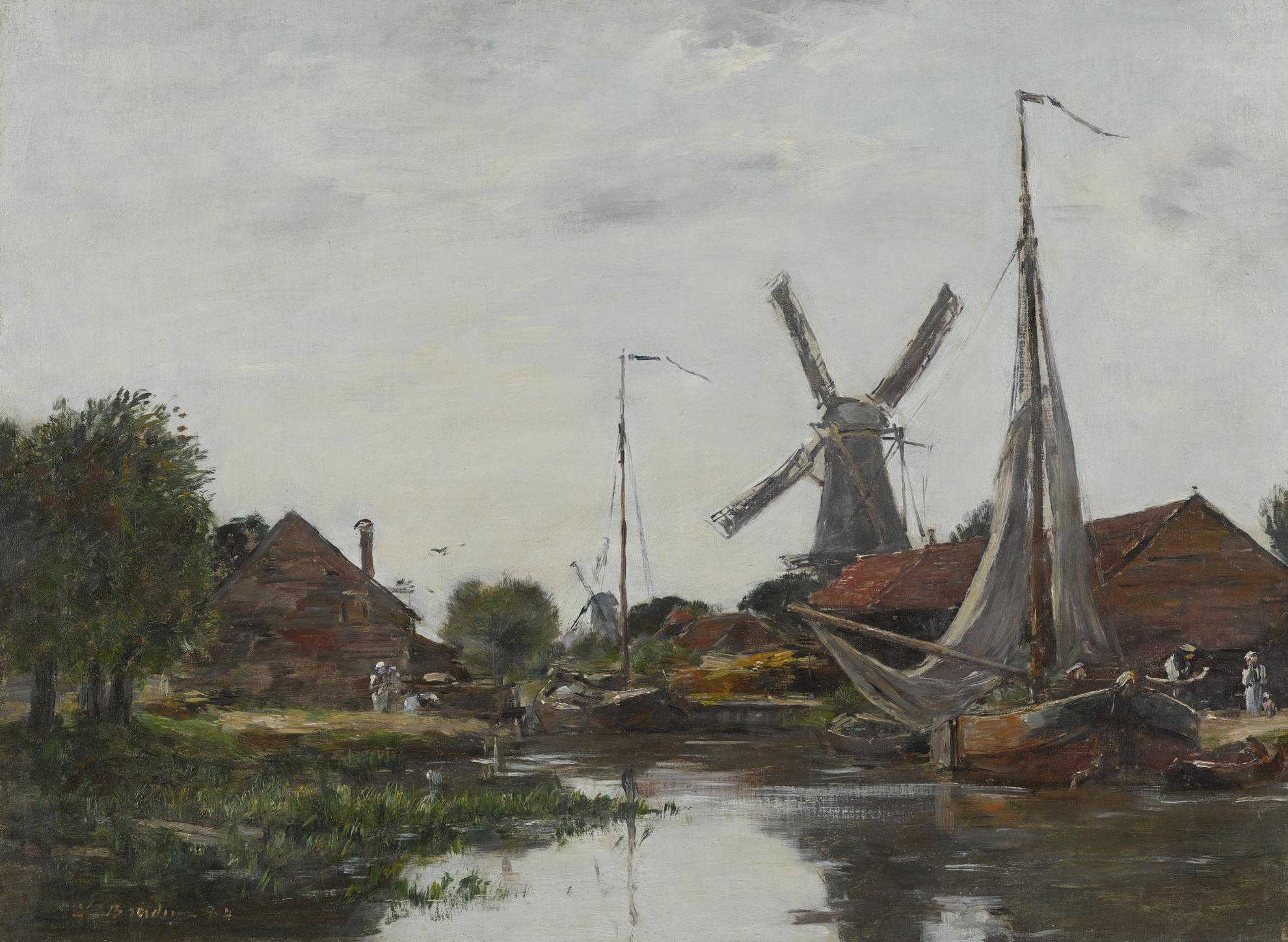 Eugene Louis Boudin-Dordrecht, Moulin Sur La Meuse-1884