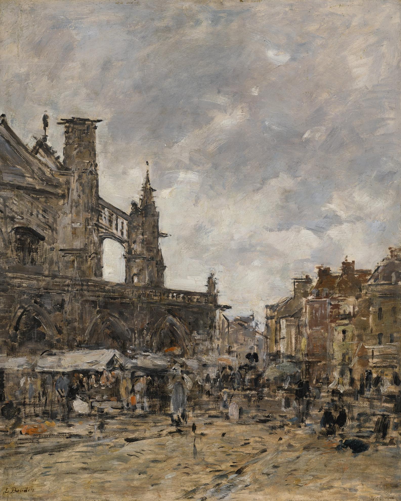 Eugene Louis Boudin-Dieppe, Place Nationale Le Jour De Marche-1896