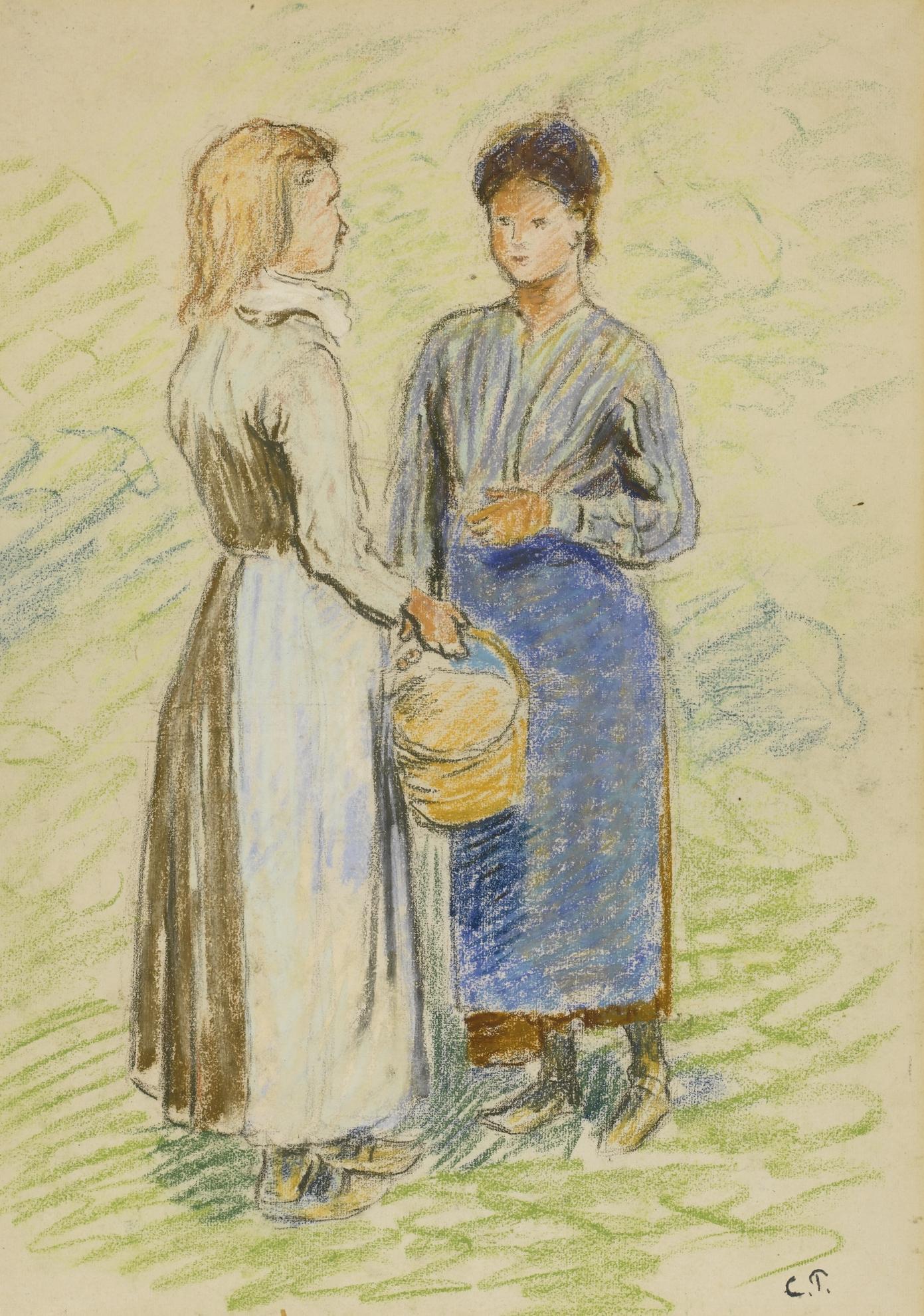 Camille Pissarro-Jeunes Paysannes Causant-1884