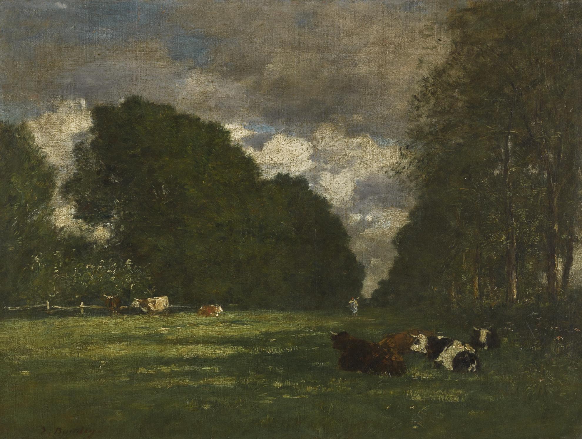 Eugene Louis Boudin-Paturage Aux Environs Dhonfleur-1895