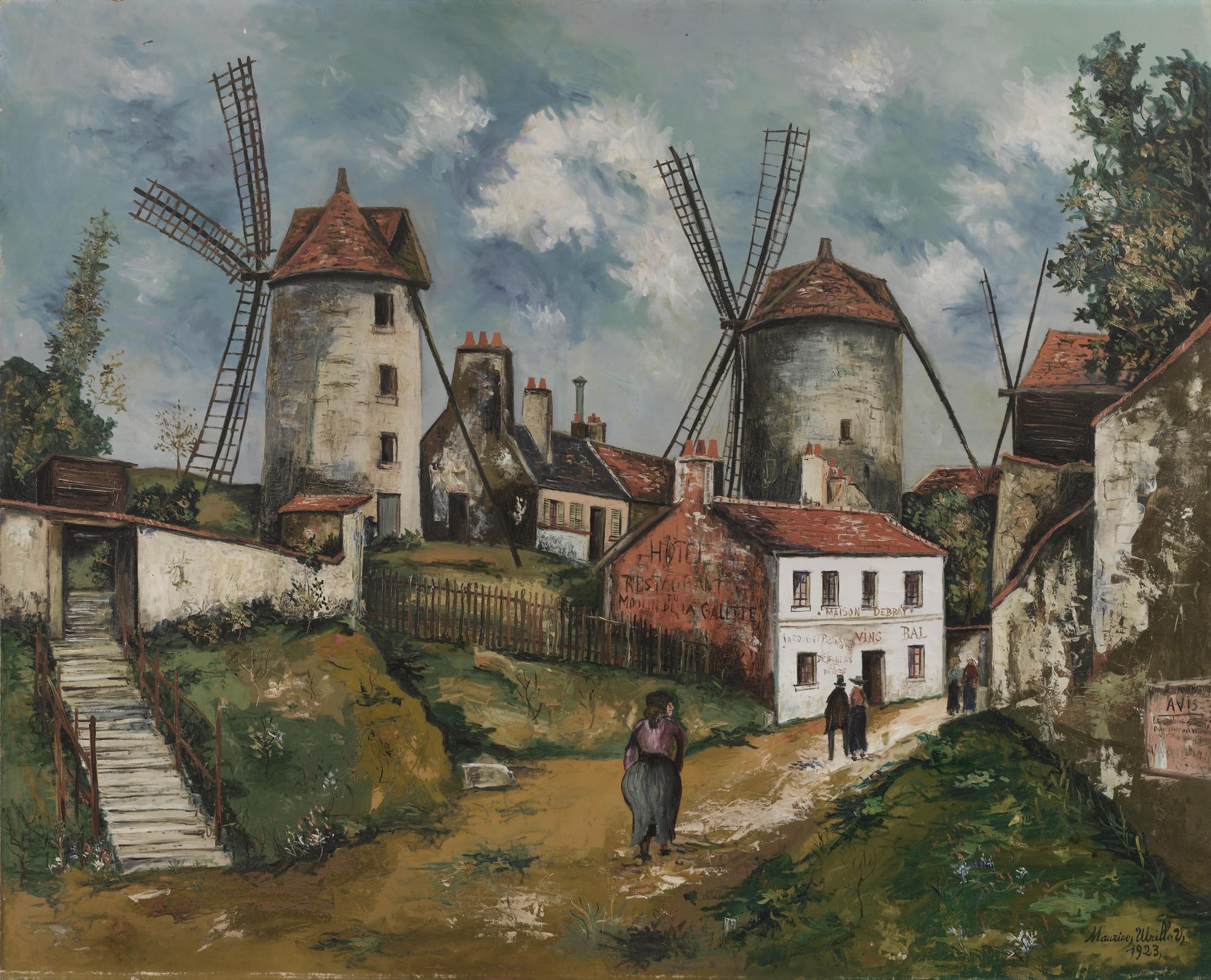 Maurice Utrillo-Les Anciens Moulins De Montmartre Et La Ferme Debray-1923