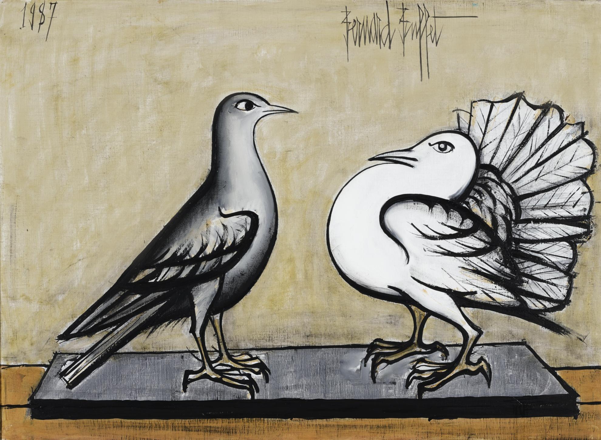 Bernard Buffet-Pigeon Gris Et Pigeon Paon-1987