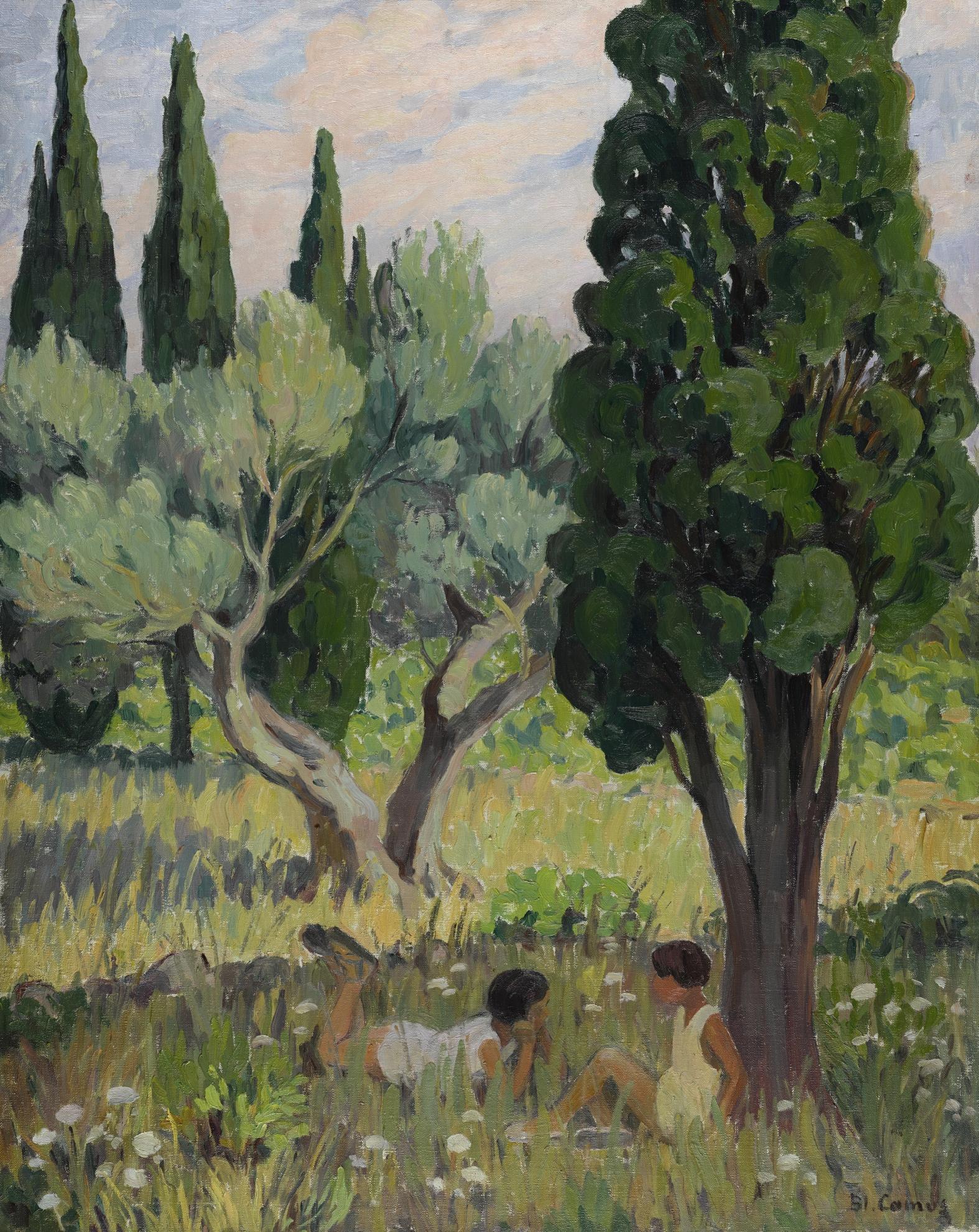 Blanche-Augustine Camus - Enfants Dans Un Champ, En Ete-1918