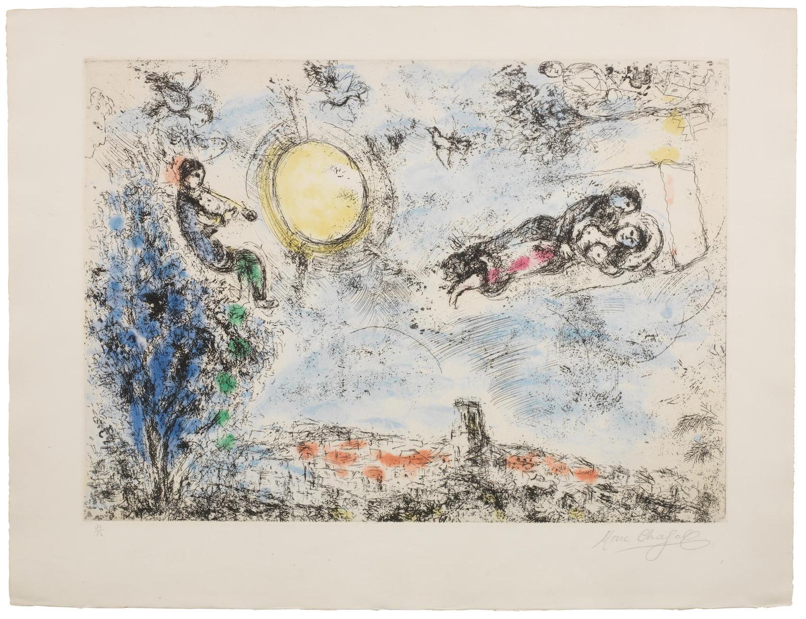 Marc Chagall-Les Amoureux Dans Le Ciel De Saint-Paul (Cramer 36)-1968
