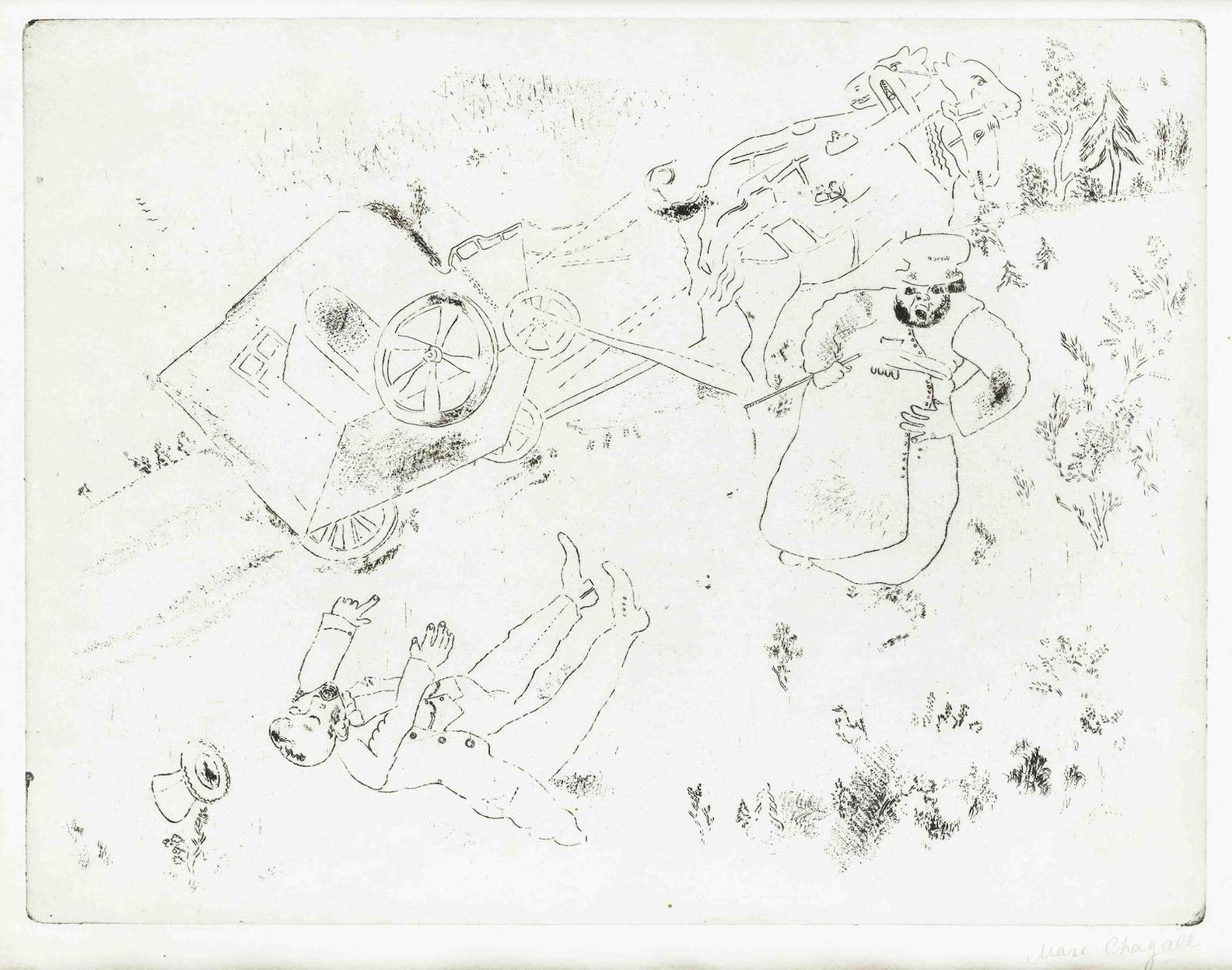 Marc Chagall-Plate 12 & 14, From Les Ames Mortes (Cramer 17)-1948