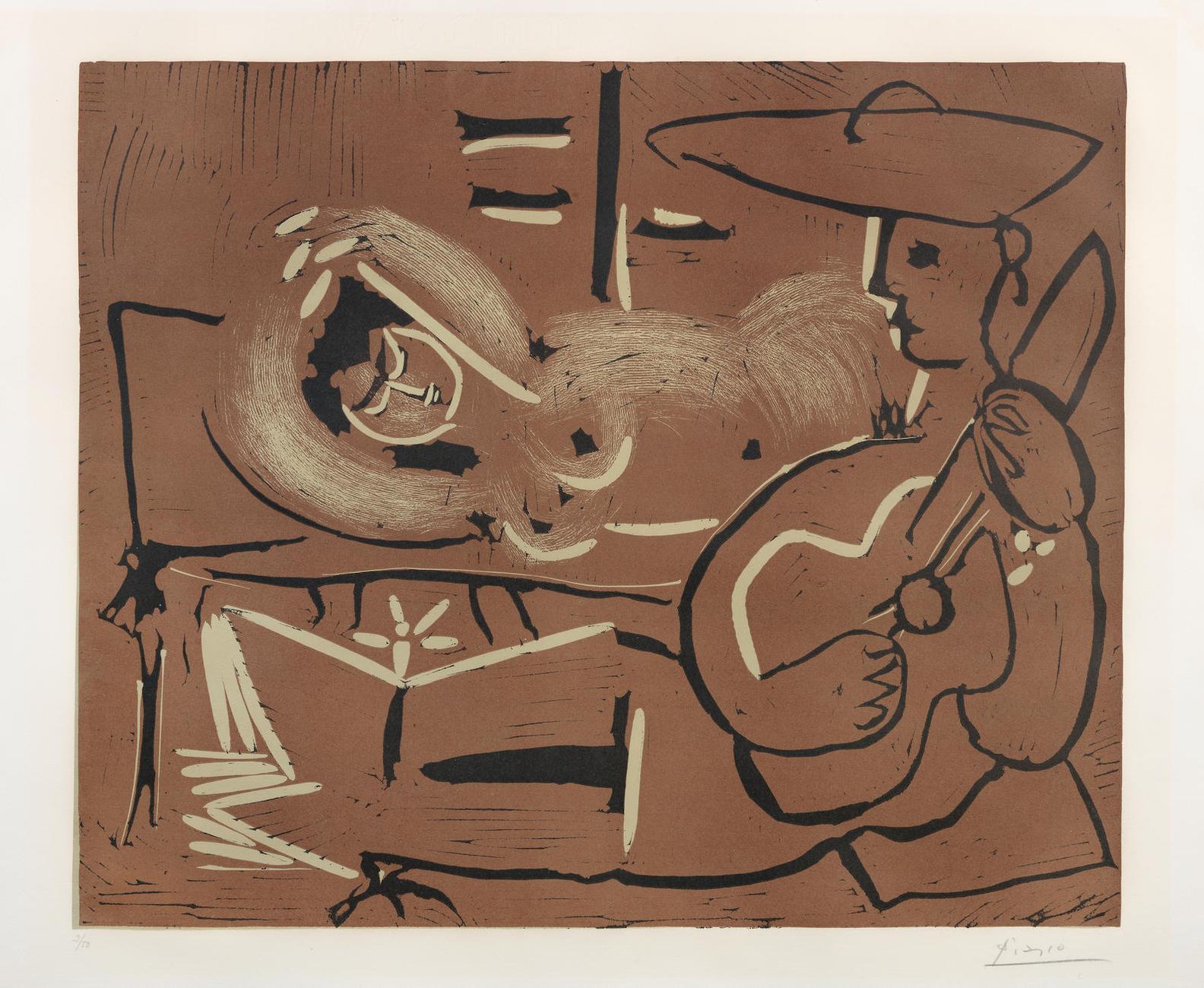 Pablo Picasso-Laubade, Avec Guitariste (Bloch918; Baer 1235 III.B.A)-1959