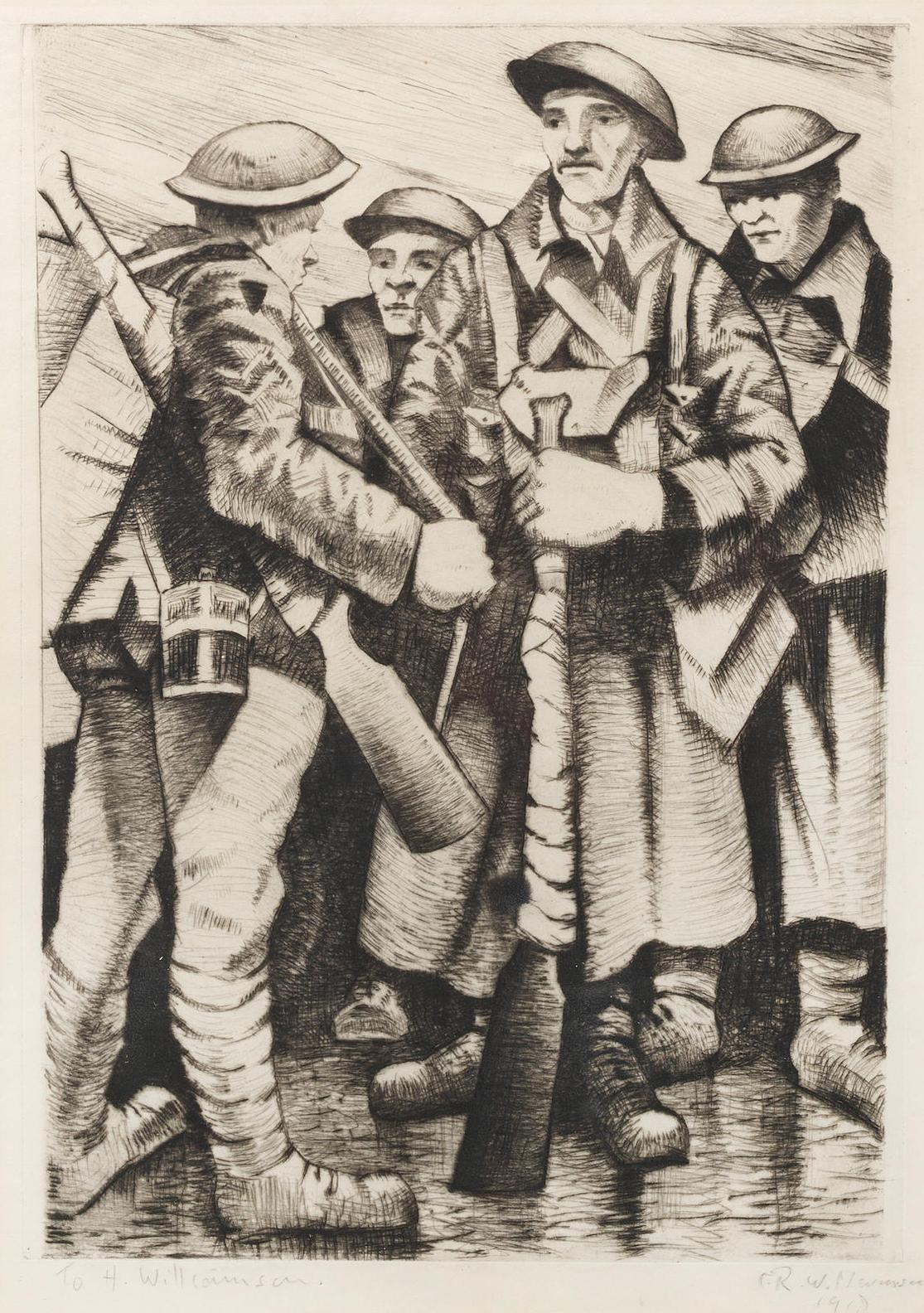 Christopher R. W. Nevinson-A Group Of Soldiers (Black 23; Leicester Galleries 14)-1917