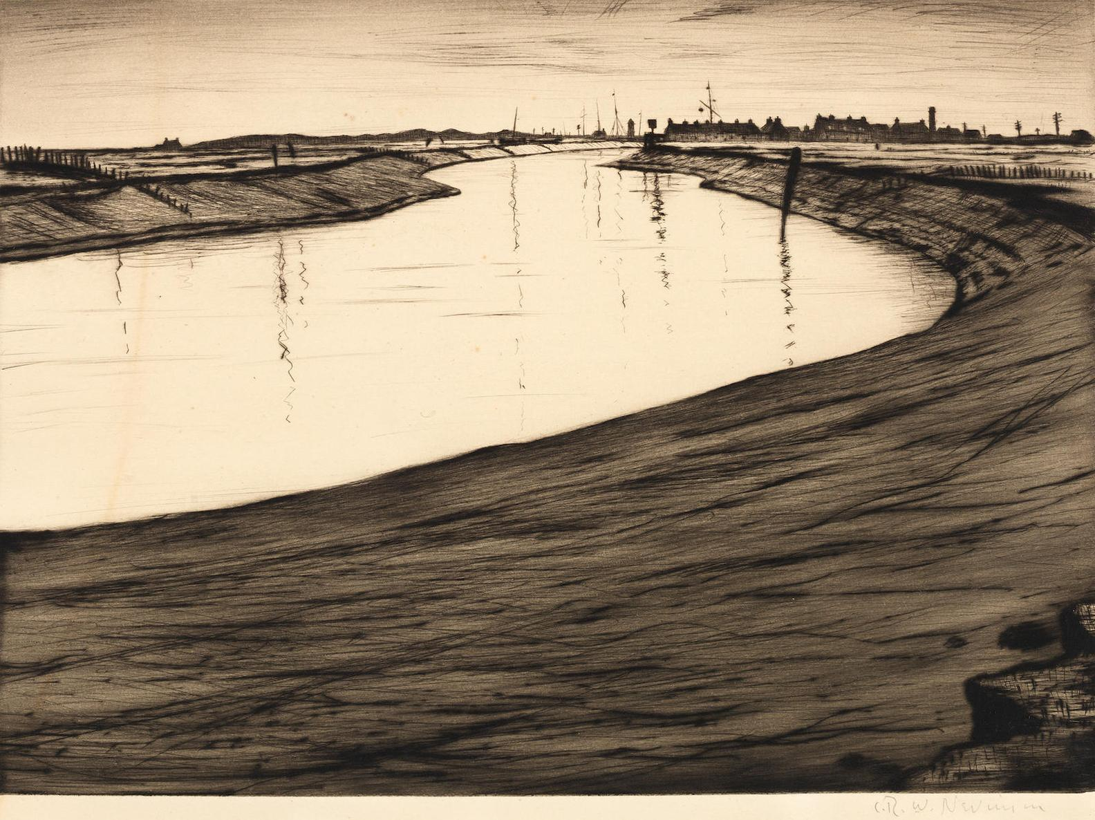 Christopher R. W. Nevinson-Ebb Tide On The Camber (Black 51)-1918