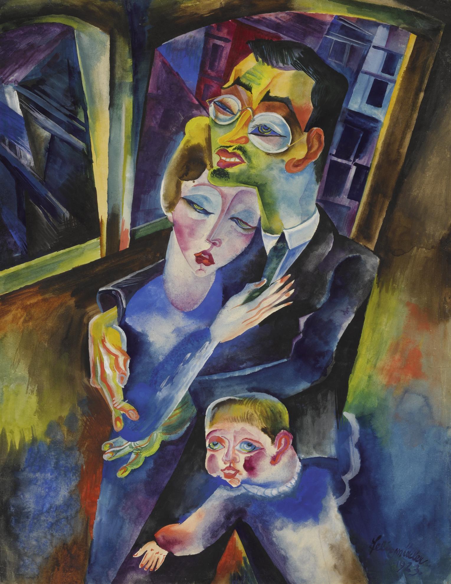 Conrad Felixmuller-Selbstbildnis Mit Meiner Frau Londa Und Meinem Sohn Titus (Self-Portrait With My Wife Londa And My Son Titus)-1923