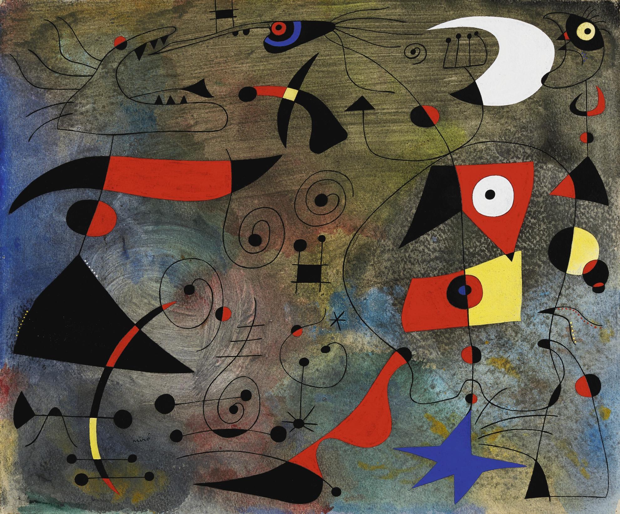 Joan Miro-Femme Et Oiseaux-1940