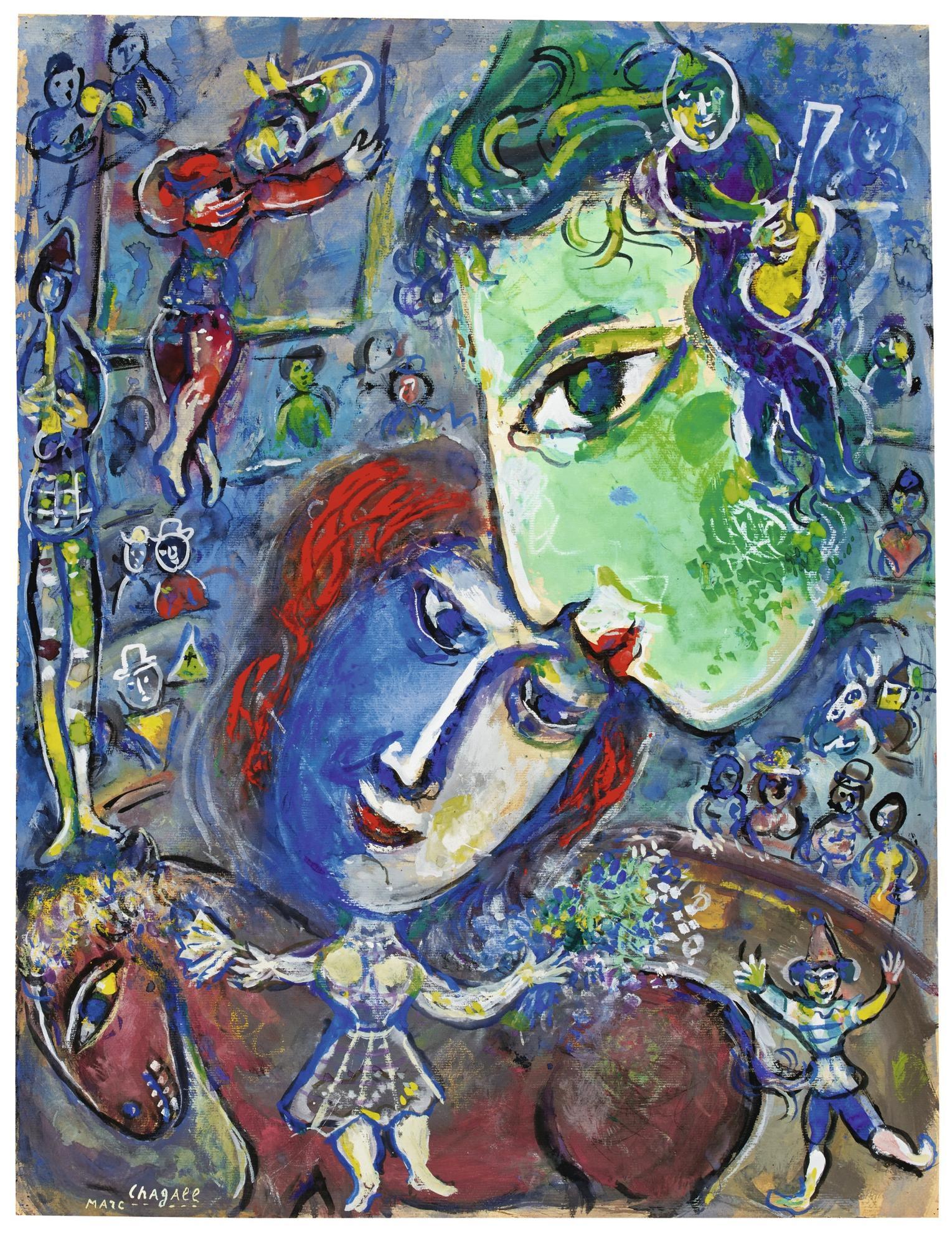 Marc Chagall-Le Cirque Or Les Deux Grands Visages Vert Et Bleu Au Cirque-1962