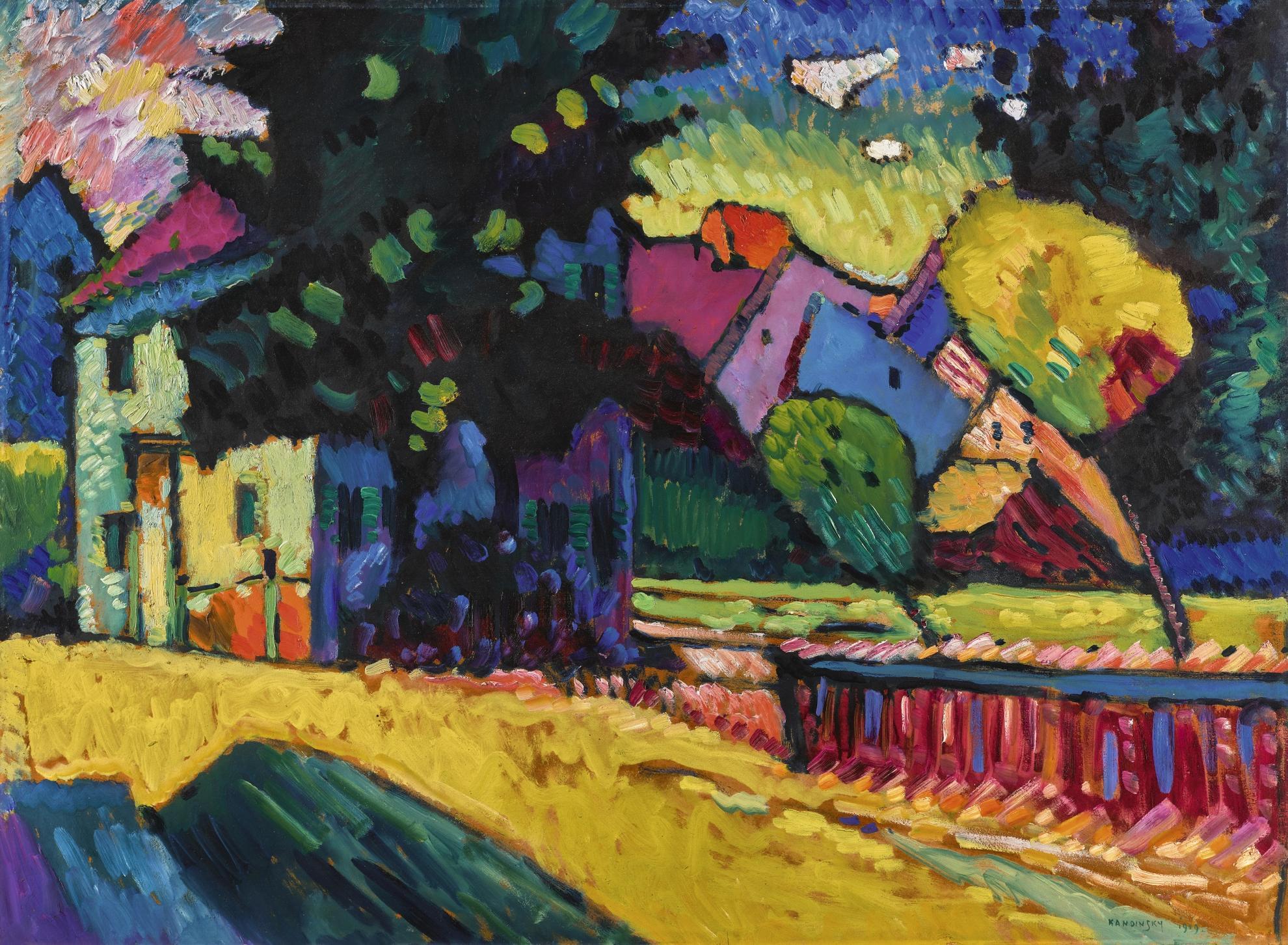Wassily Kandinsky-Murnau - Landschaft Mit Grunem Haus (Murnau - Landscape With Green House)-1909