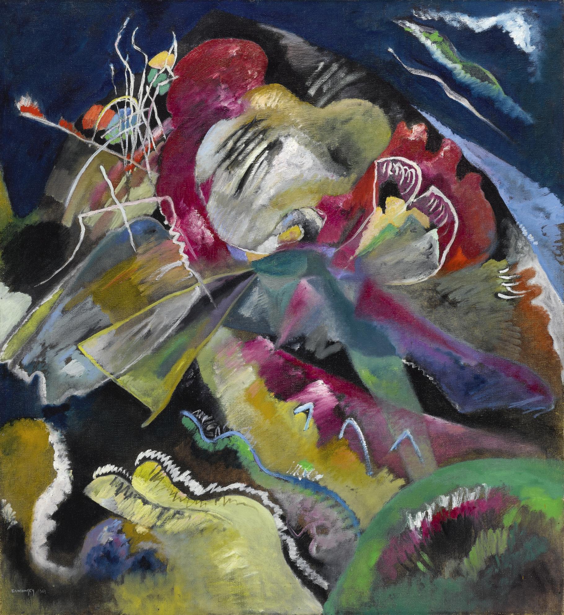 Wassily Kandinsky-Bild Mit Weissen Linien (Painting With White Lines)-1913