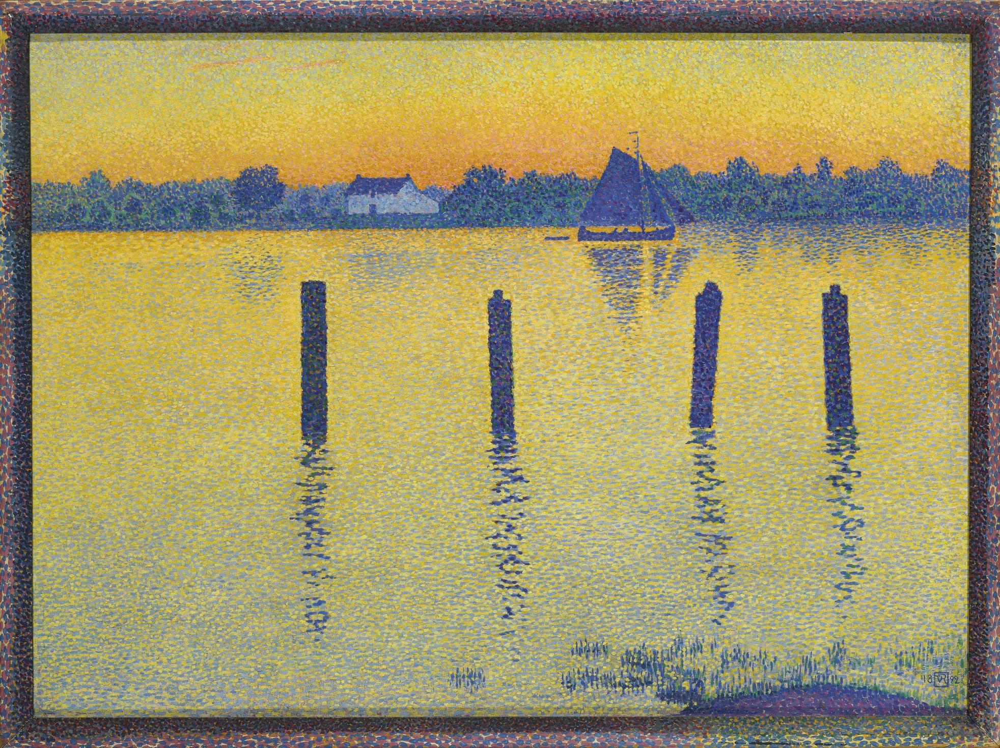 Theo van Rysselberghe-L'Escaut En Amont D'Anvers, Le Soir Or Voiliers Sur Lescaut-1892