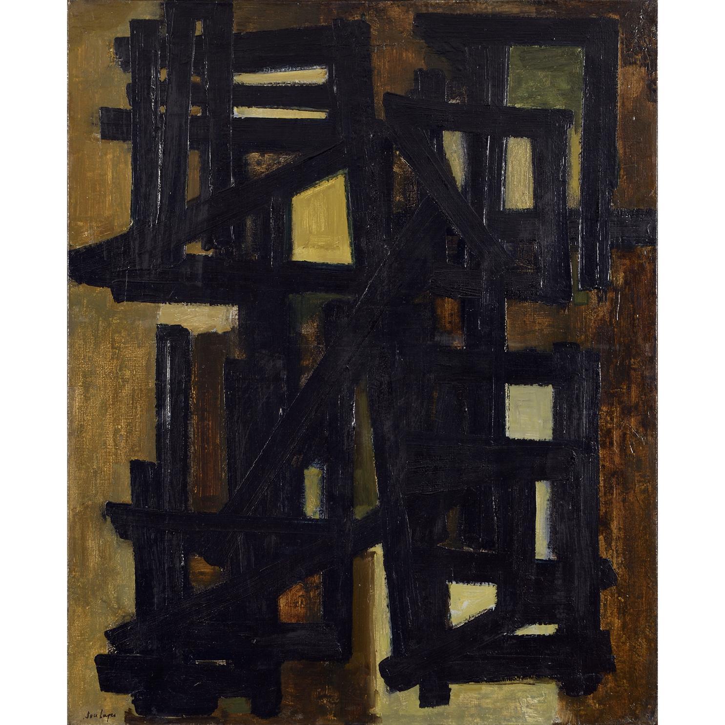 Pierre Soulages-Peinture 100 X 81 Cm, 5 Avril 1951-1951