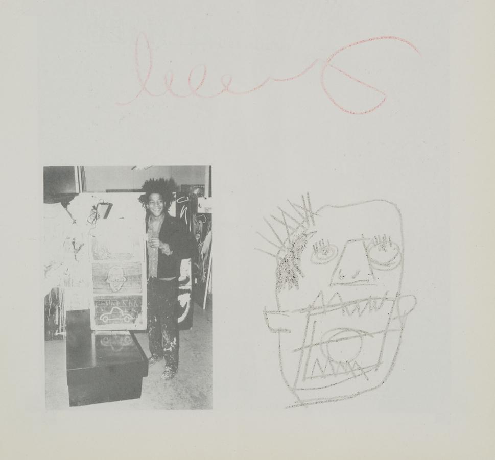 Jean-Michel Basquiat-Dessin et autographe de Jean-Michel Basquiat sur catalogue d'exposition-1982