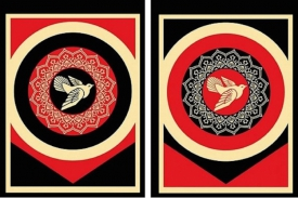 Shepard Fairey-Peace Dove (black & red)-2011