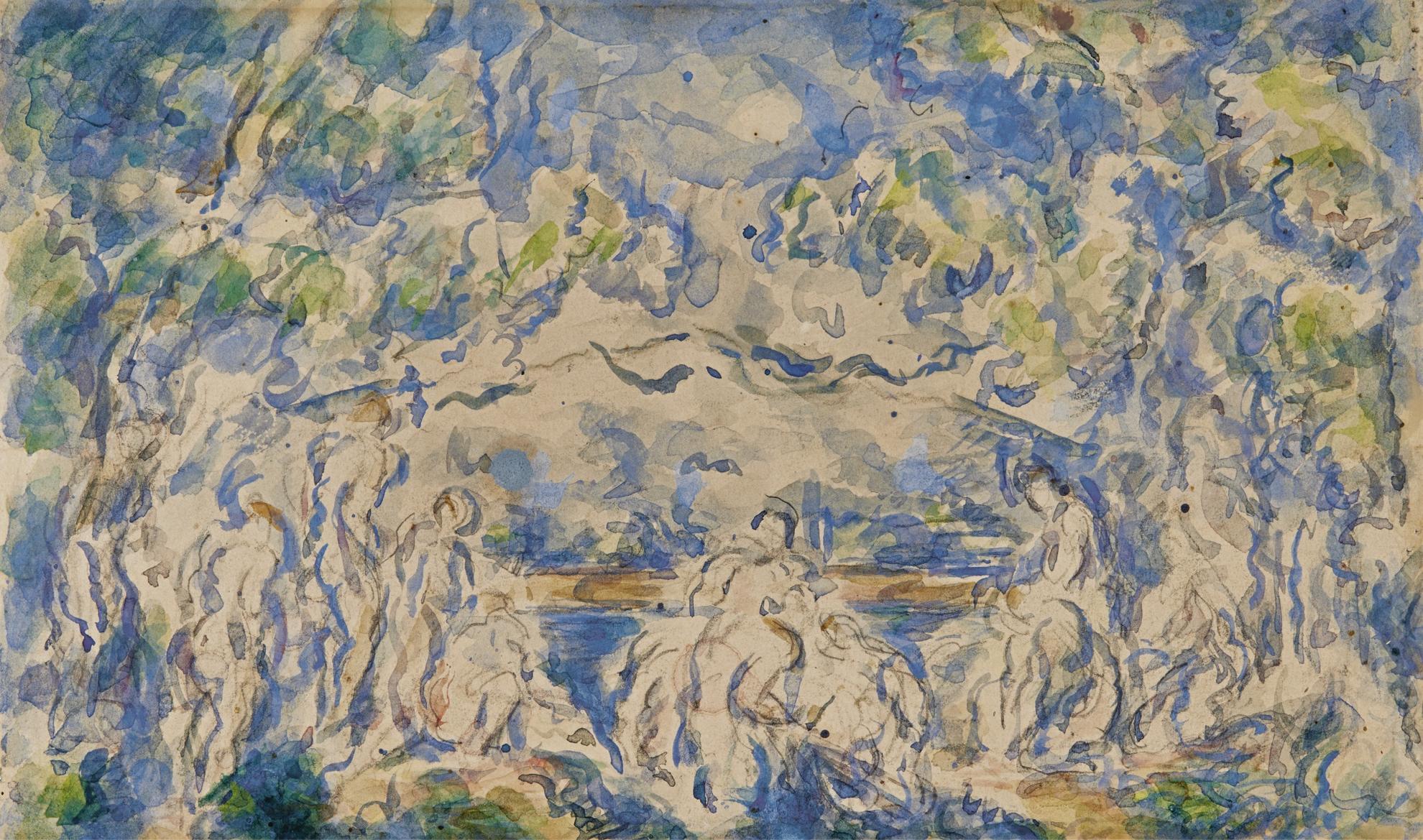 Paul Cezanne-Baigneuses, La Montagne Sainte-Victoire Au Fond-1906