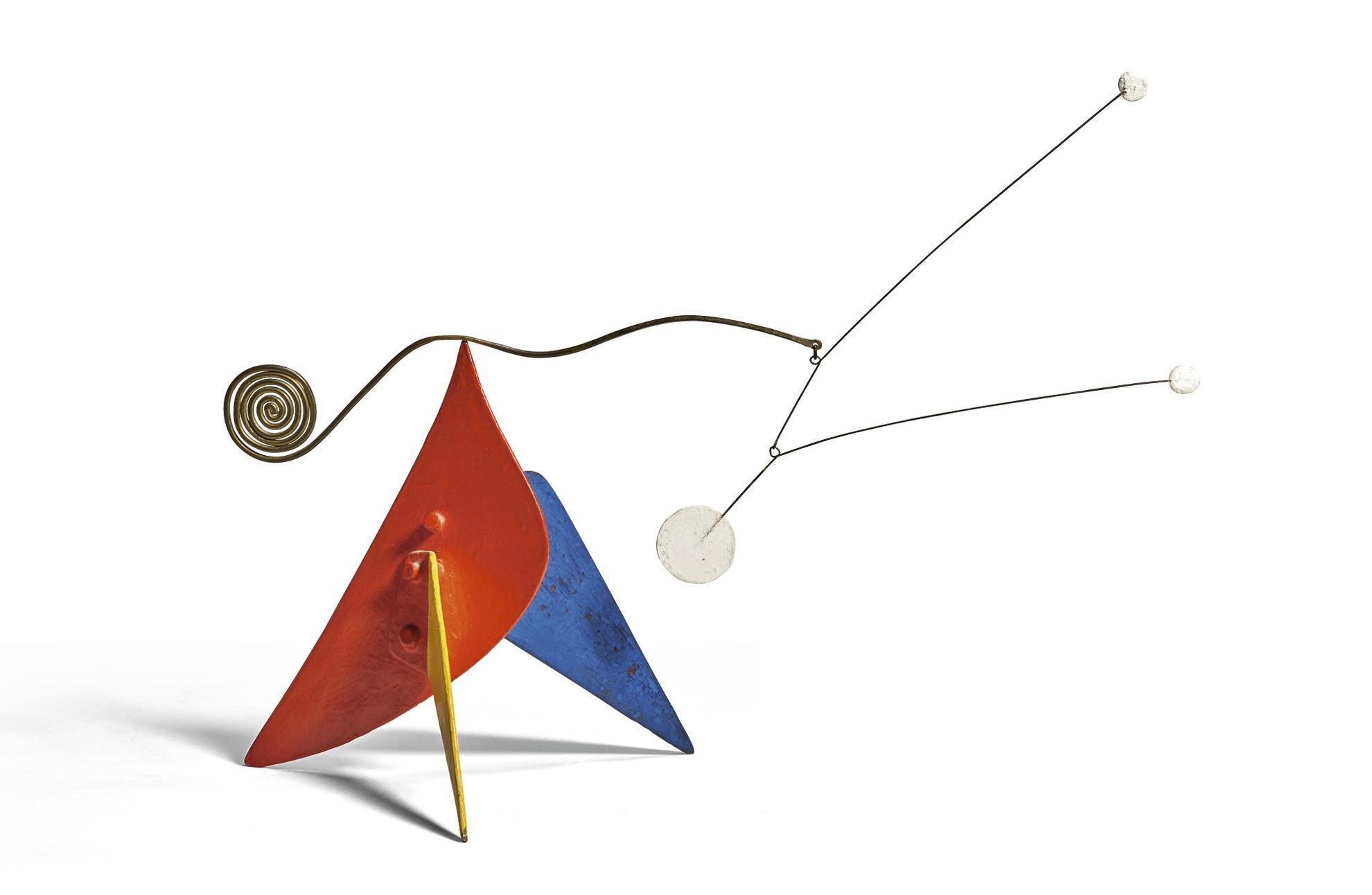 Alexander Calder-Tres Puntos Blancos Sobre Rojo, Amarillo Y Azul-1955