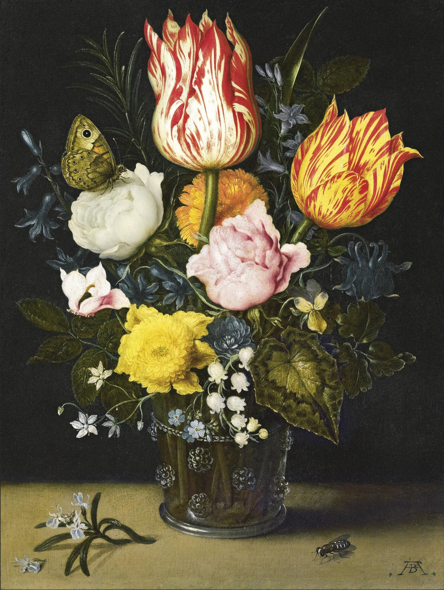Ambrosius Bosschaert The Elder - Still Life Of Flowers In A Berkemeijer Glass Beaker Decorated With Raspberry Prunts, Including Red And White Parrot Tulips, A White Rose With A Butterfuly And A Pink Rose, Marigolds, Lily-Of-The-Valley, Forget-Me-Not And Violets, With A Sprig Of Rosemary And A Fly On The Shelf Beneath-