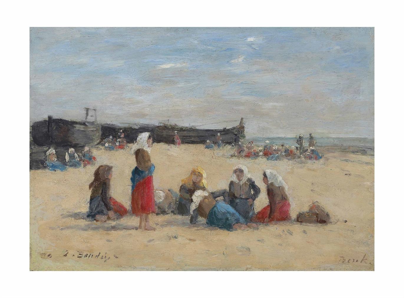 Eugene Louis Boudin-Berck, Pecheuses Sur La Plage-1876