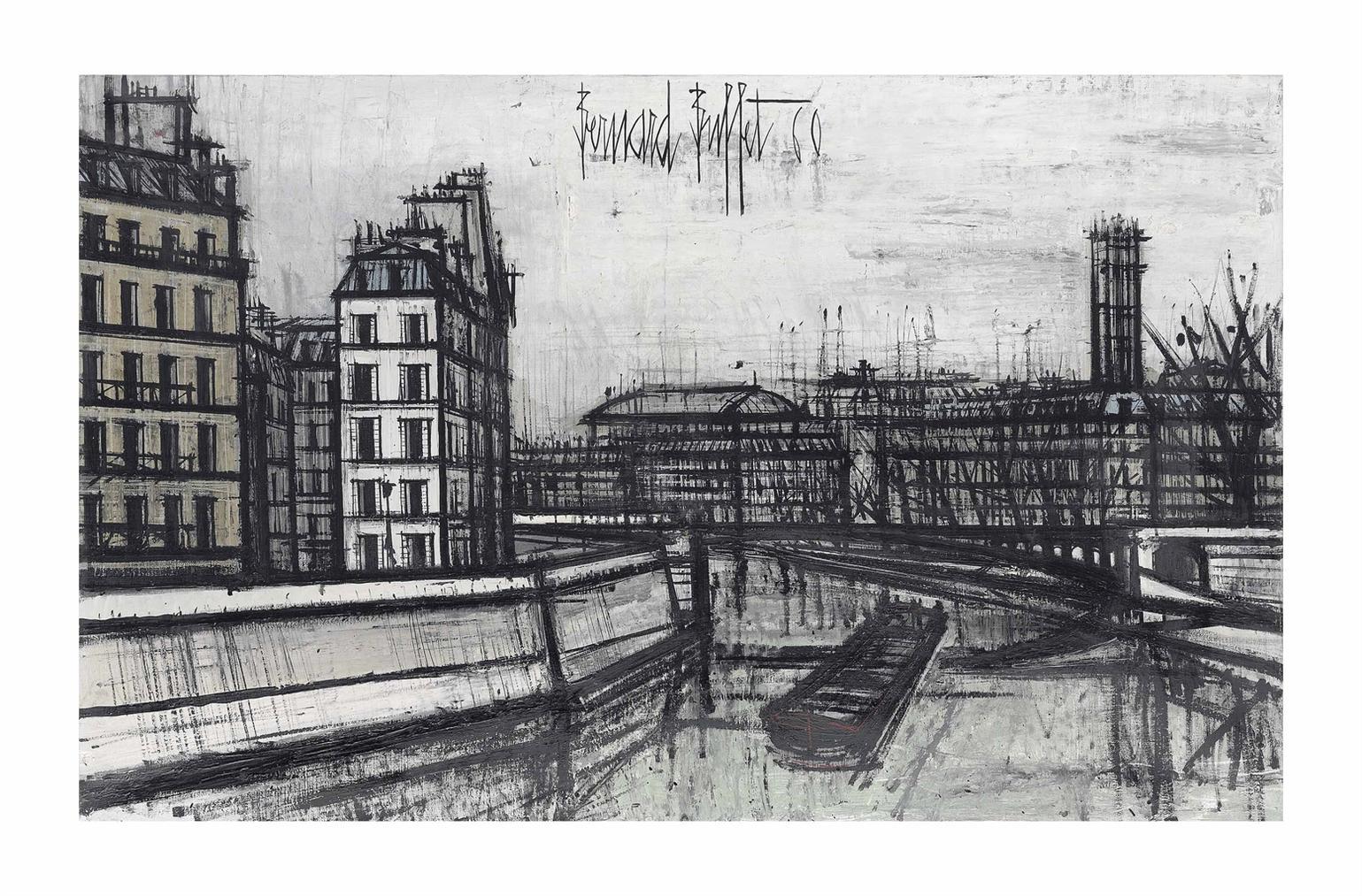 Bernard Buffet-La Seine Et La Tour Saint-Jacques-1960